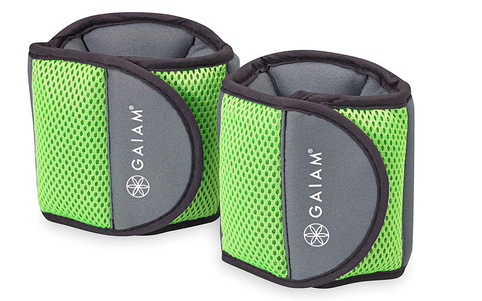 Grey and green ankle weights