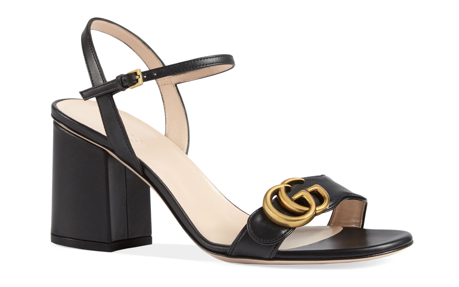 Black leather heeled sandal