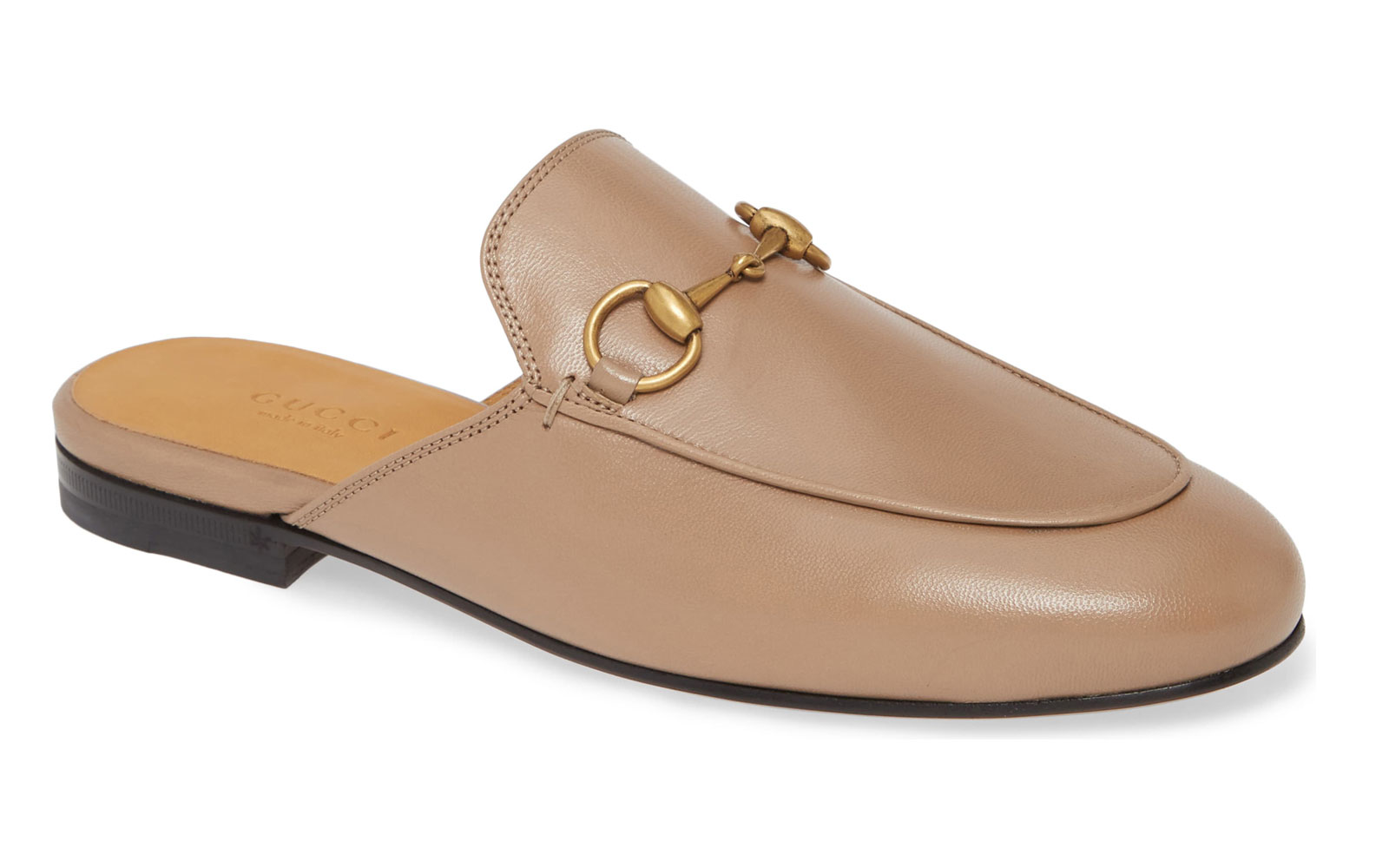 Tan leather mule shoe