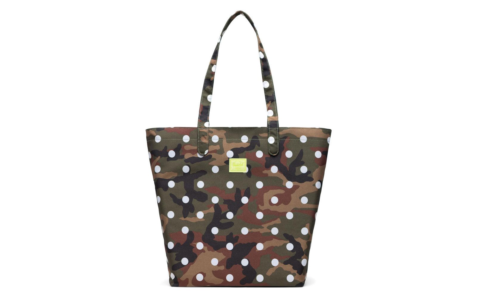 Camo and polka dot canvas tote