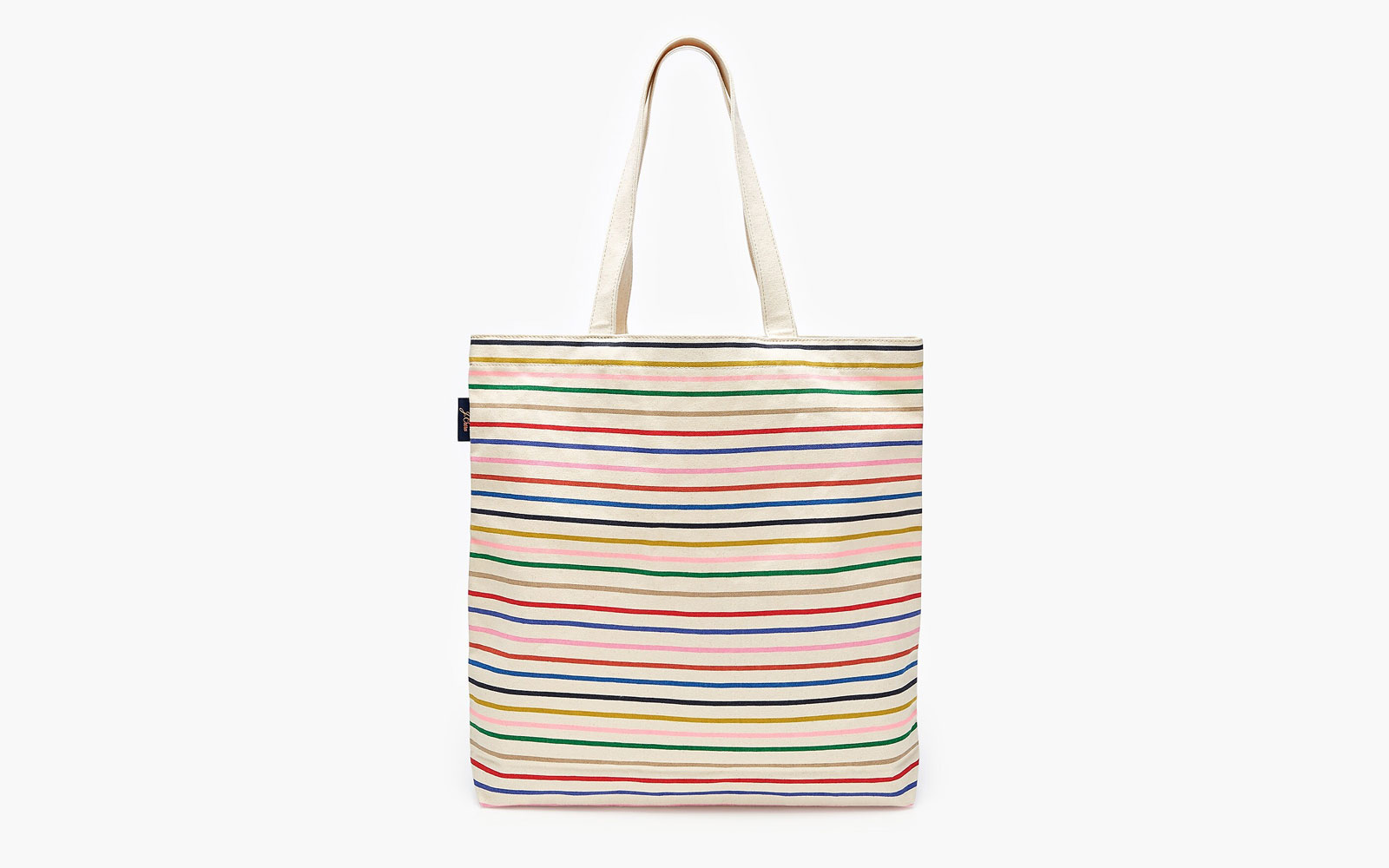 Rainbow striped canvas tote bag