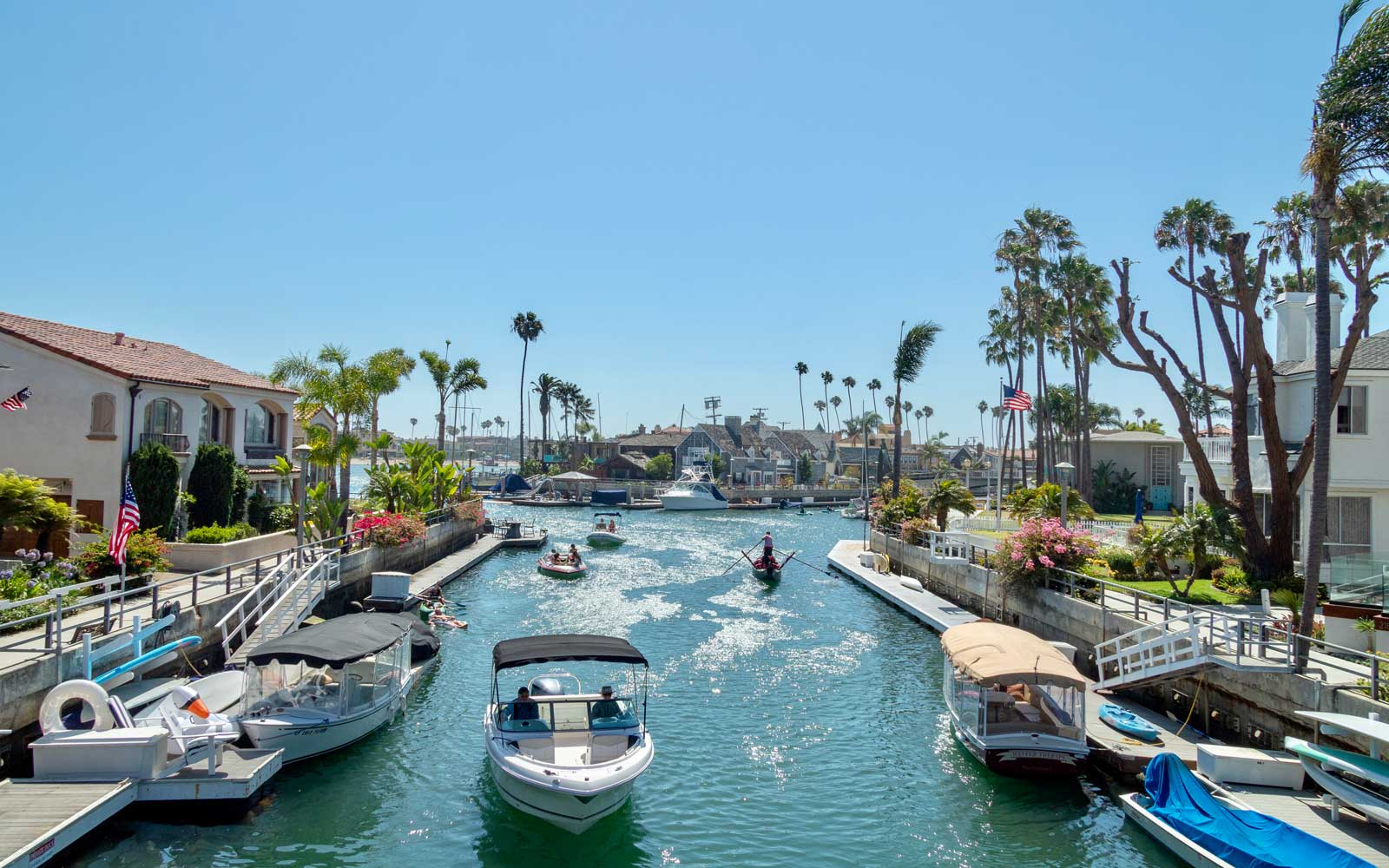 Naples Island canal in Long Beach, California