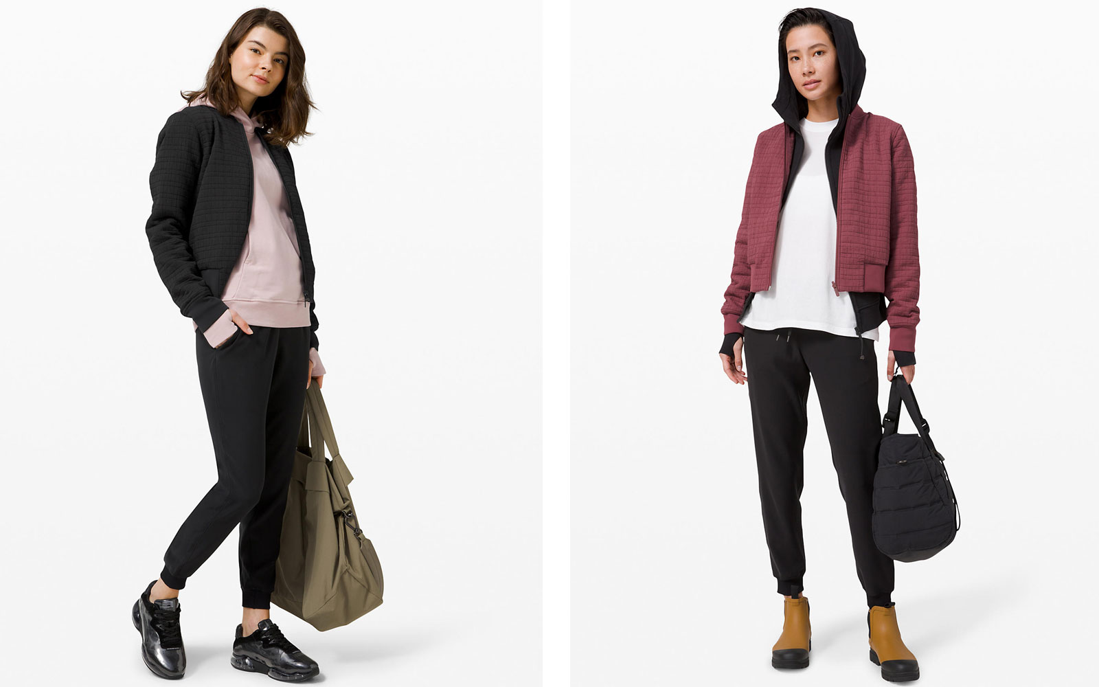 Two models wearing bomber jackets