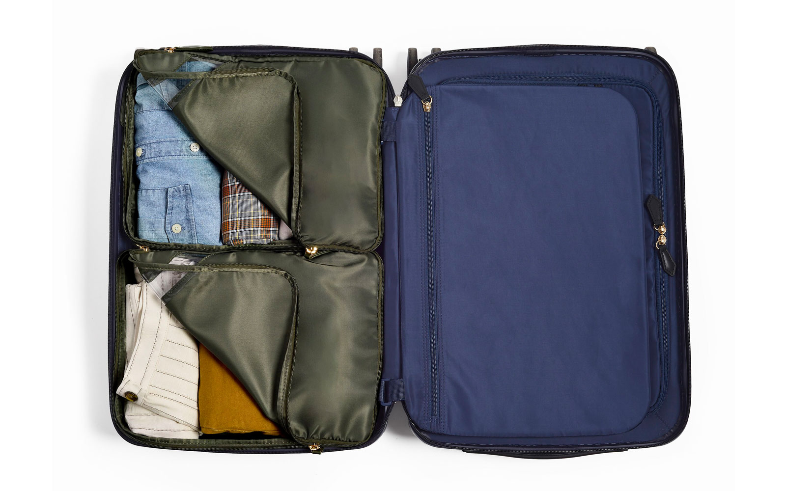 Interior of suitcase with packing cubes