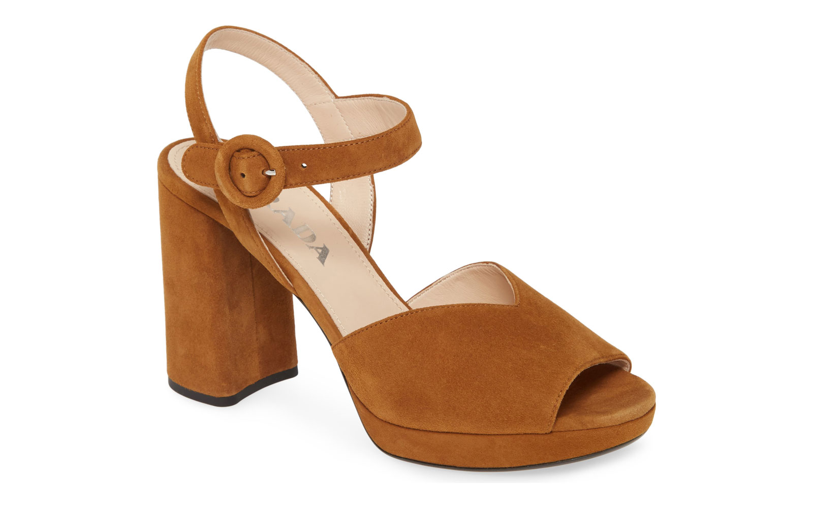 Camel suede heeled sandals