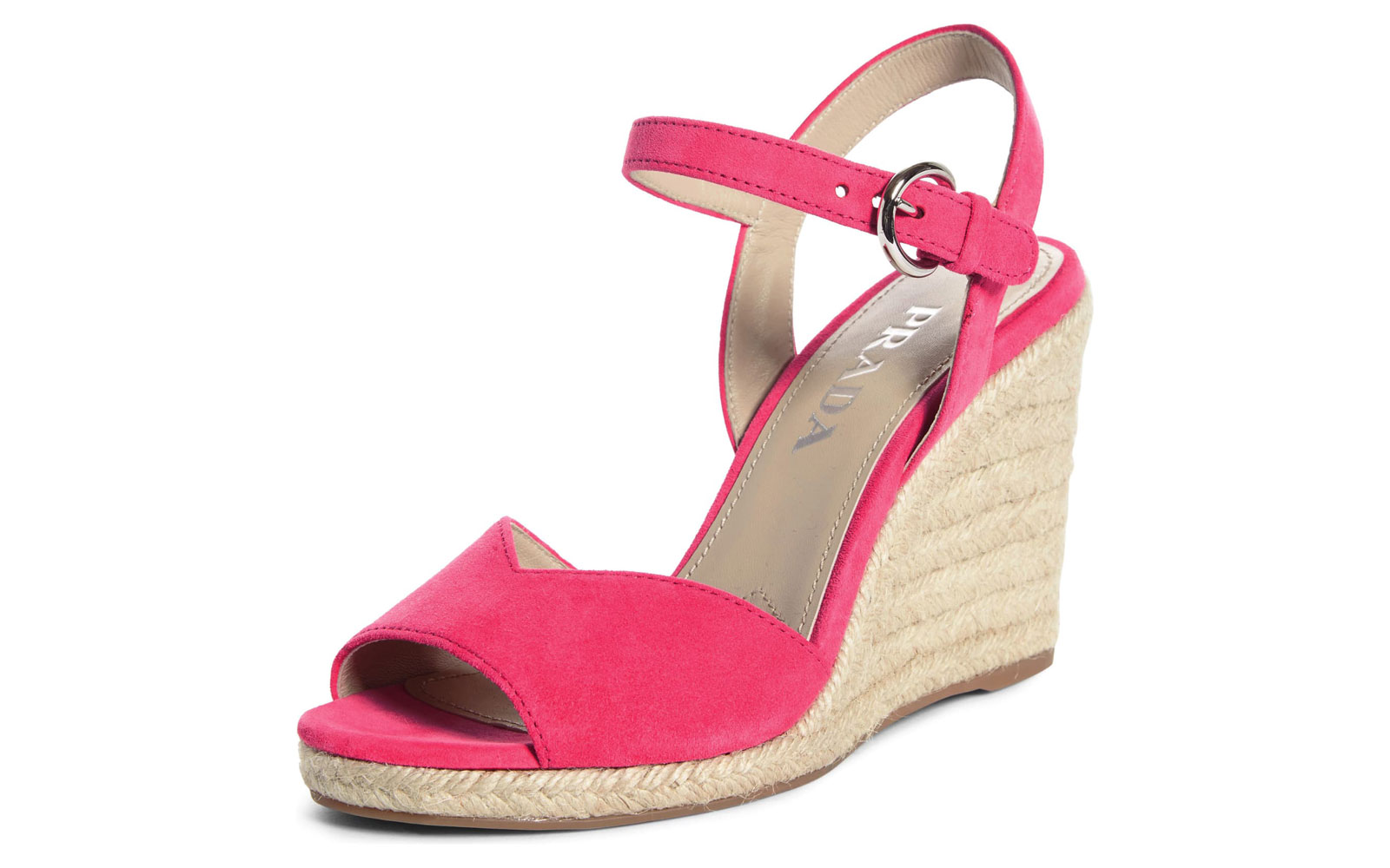 Pink suede wedge sandals