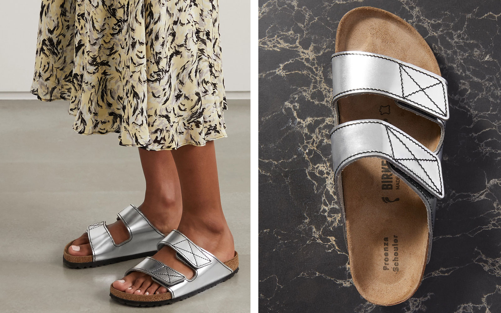 Woman wearing silver leather sandals