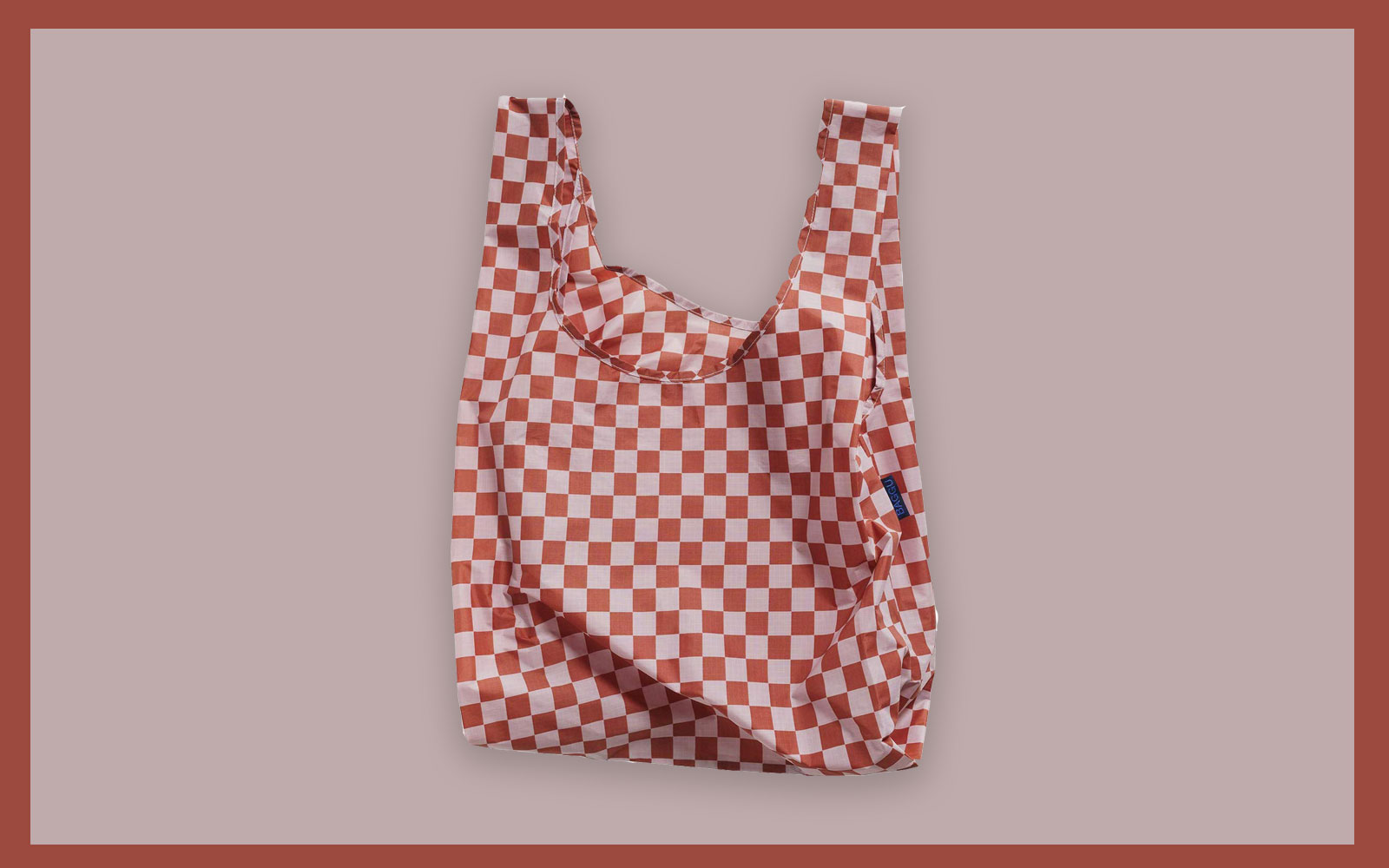 pink and red checkered nylon shopping bag