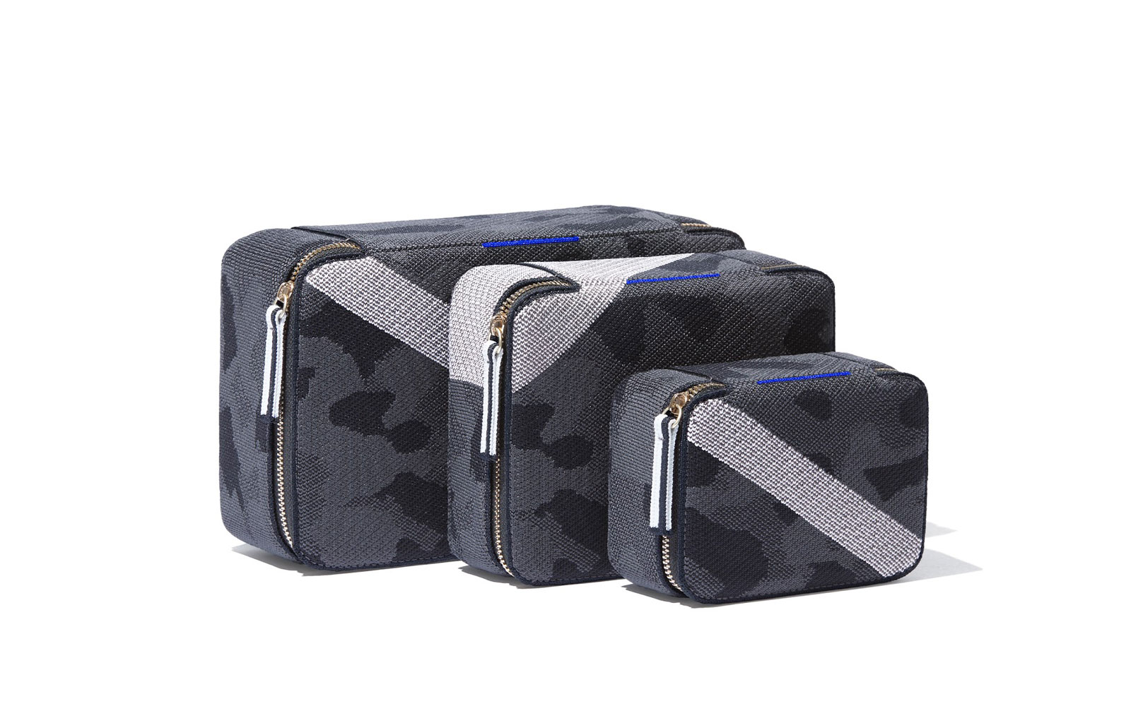 Three grey and black zippered cases