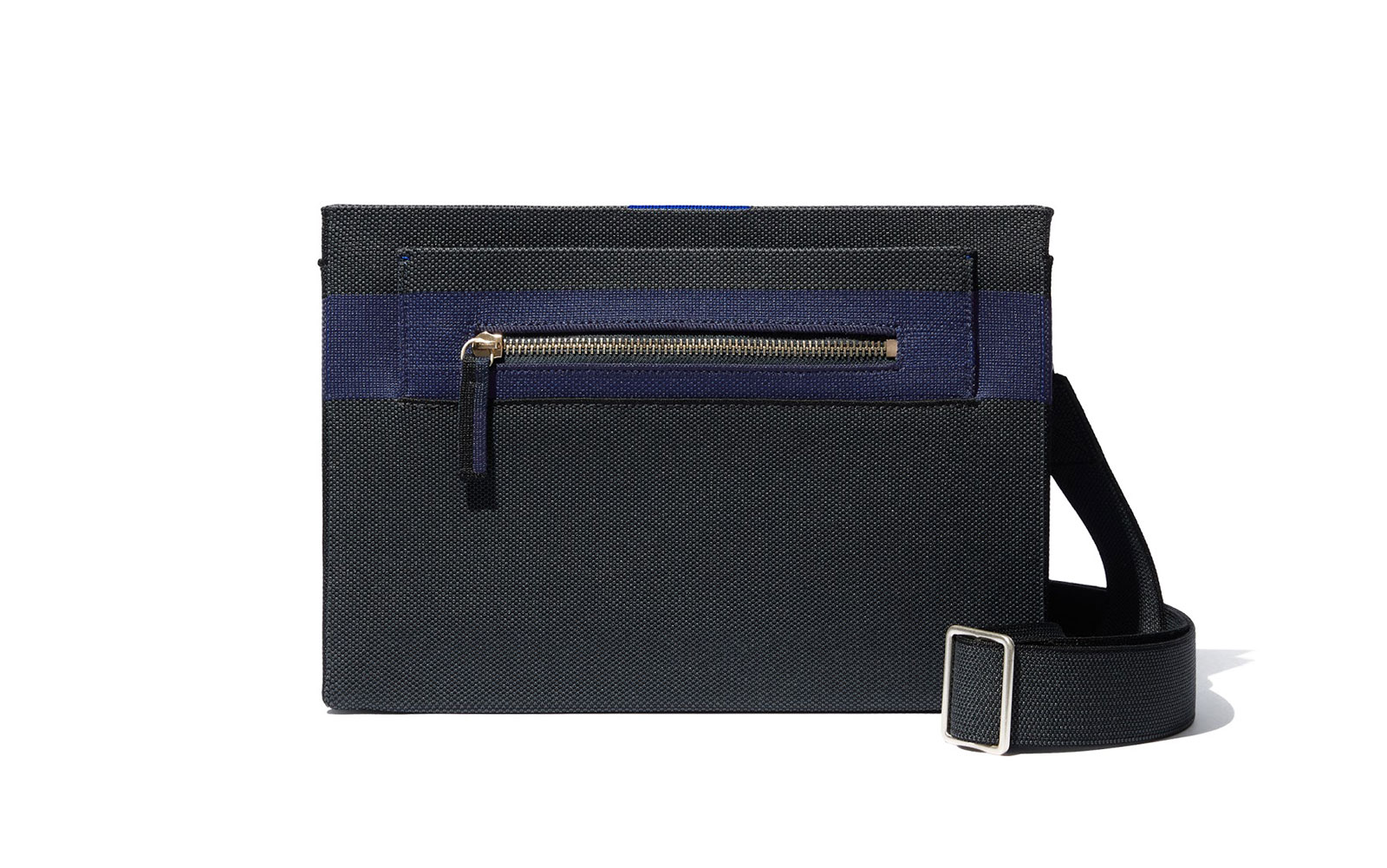 Black and navy zippered crossbody bag