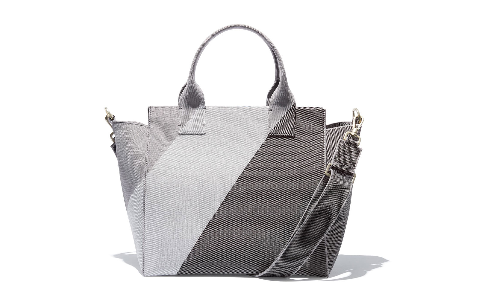 Grey striped handbag