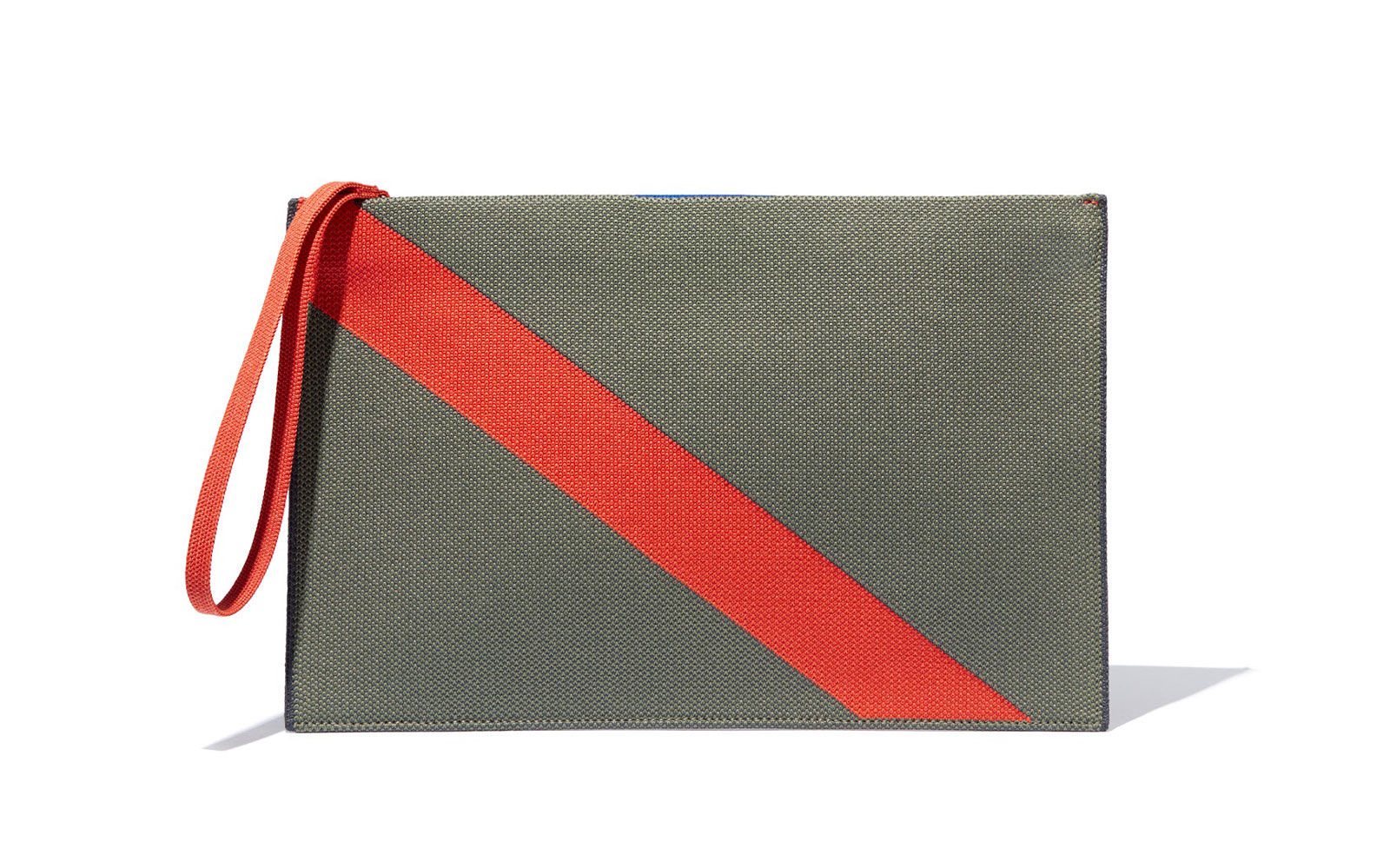 Green and red striped pouch