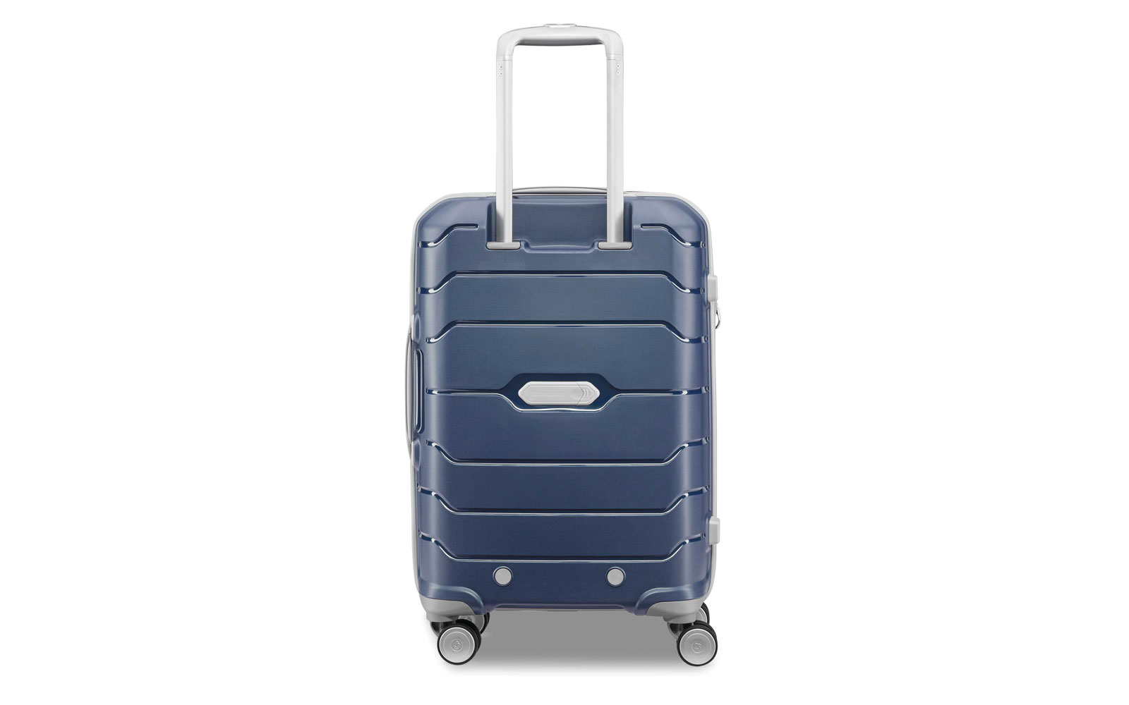 Back of navy Hardside spinner suitcase