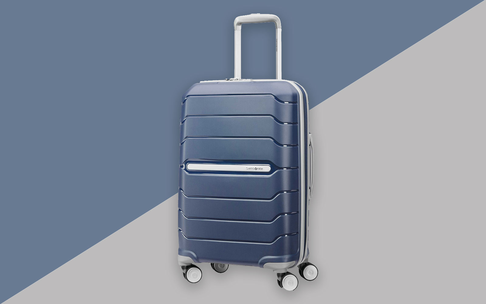 Navy hardside spinner suitcase