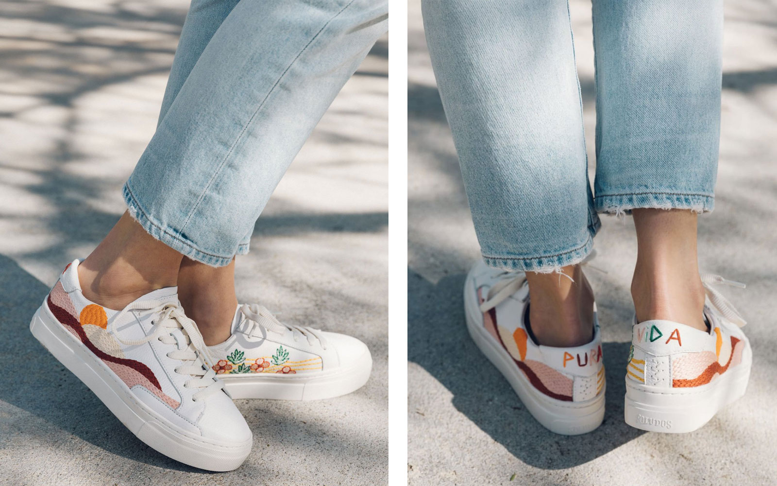 Women's embroidered sneakers