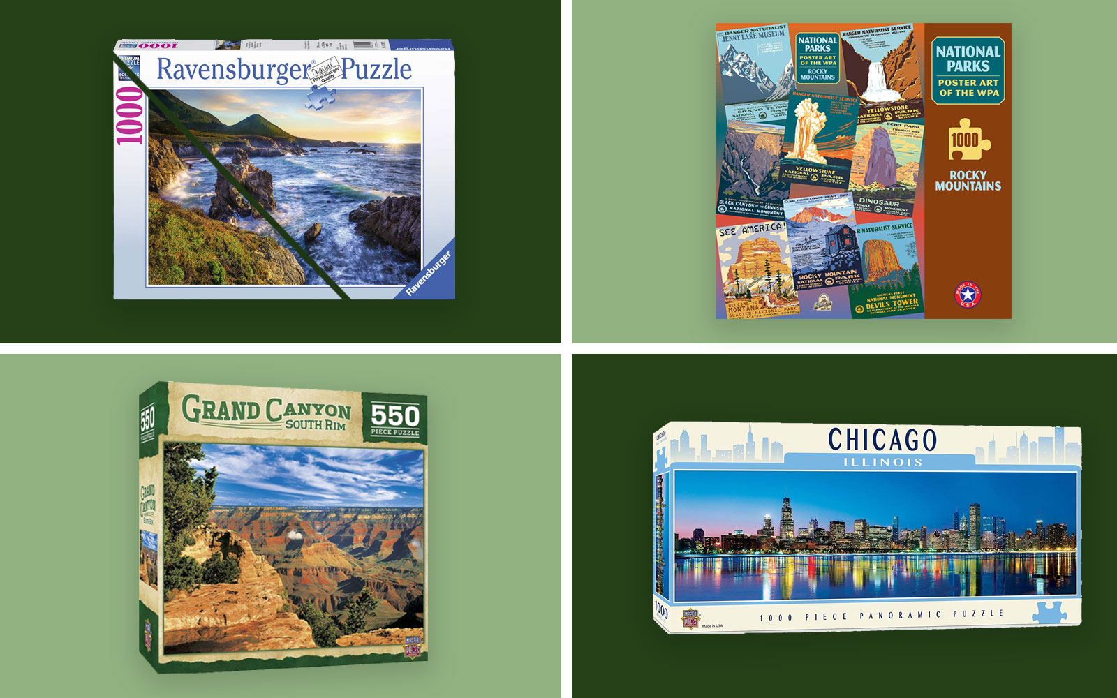 Four travel-themed, puzzles