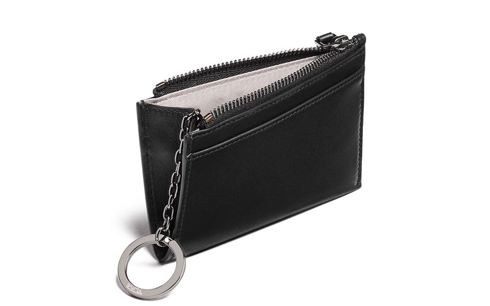 Black leather card case wallet
