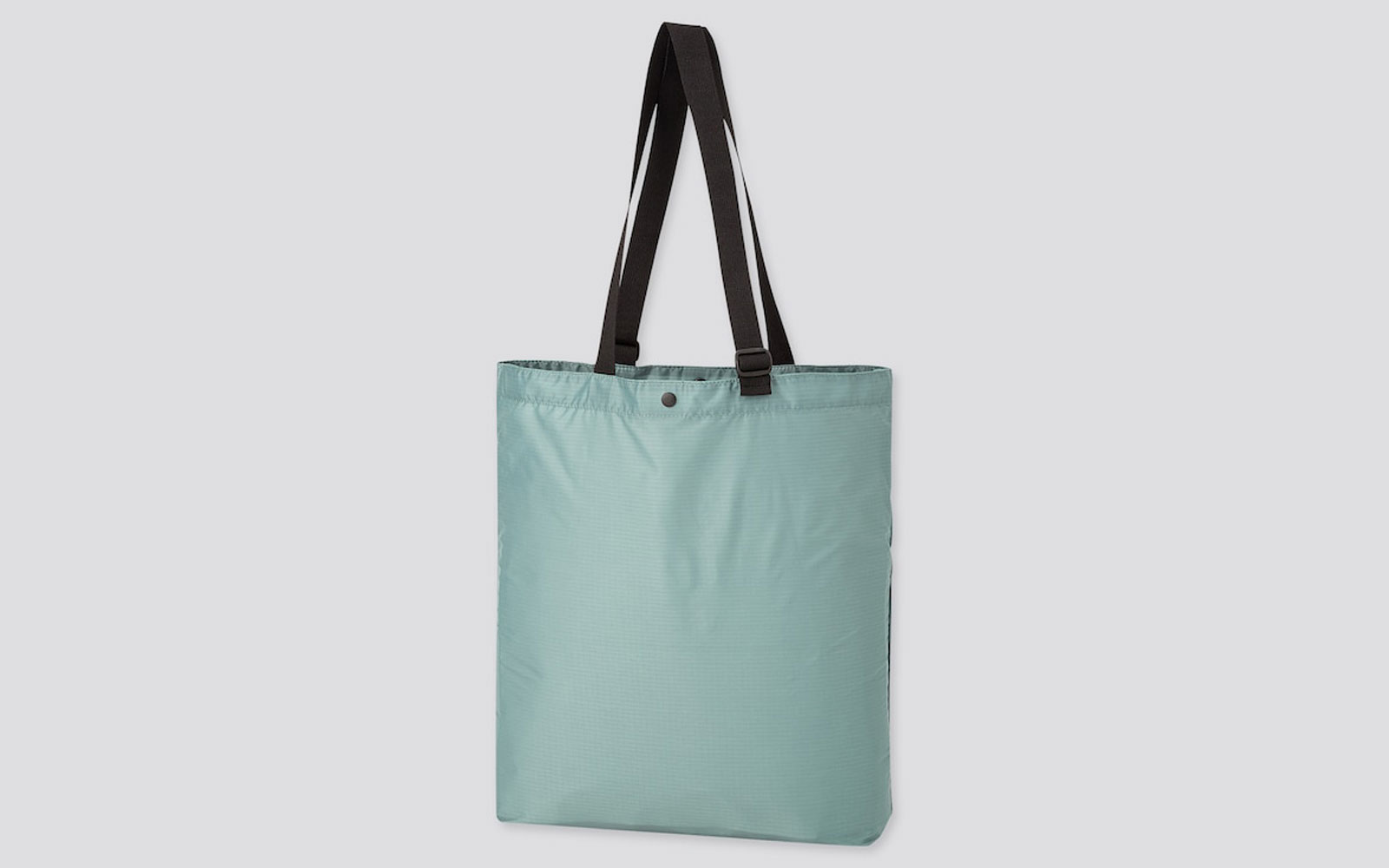 Light blue nylon shopping tote