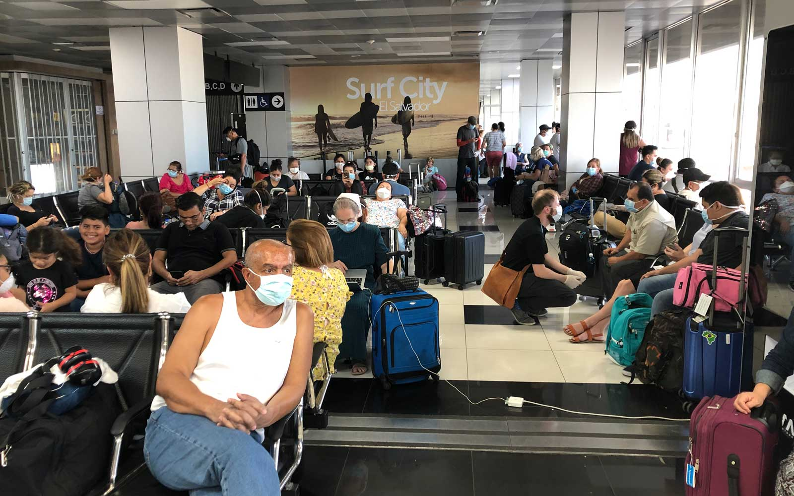 Eastern Airlines passenger gate, Americans wait for flights home during Covid-19 Pandemic