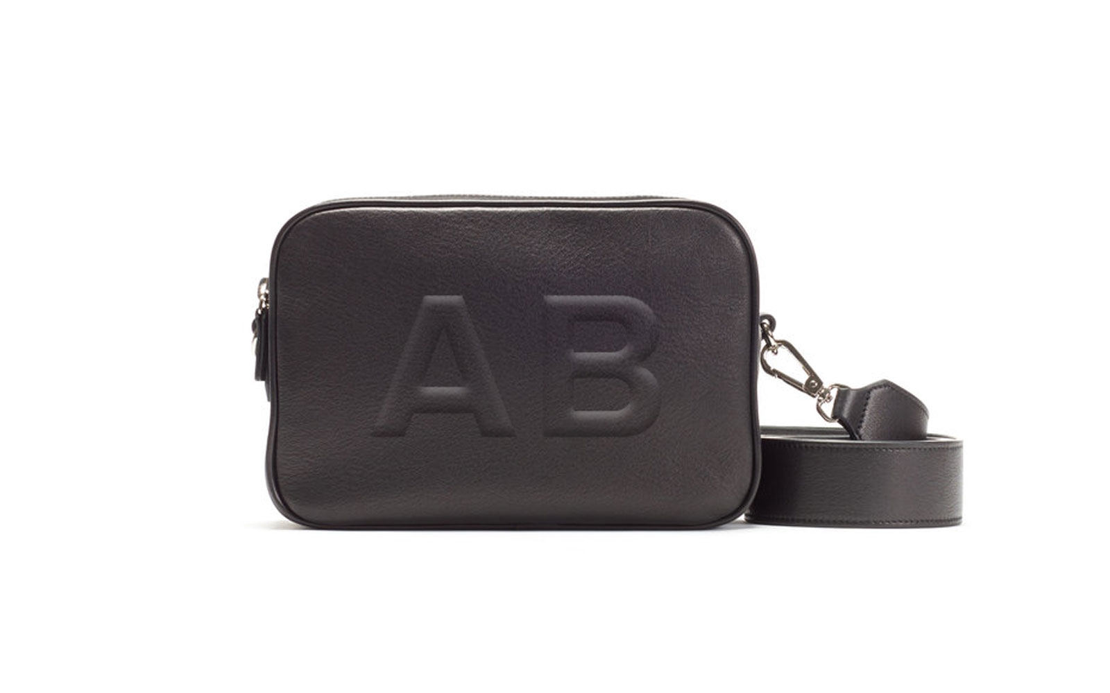 Black monogrammed leather purse