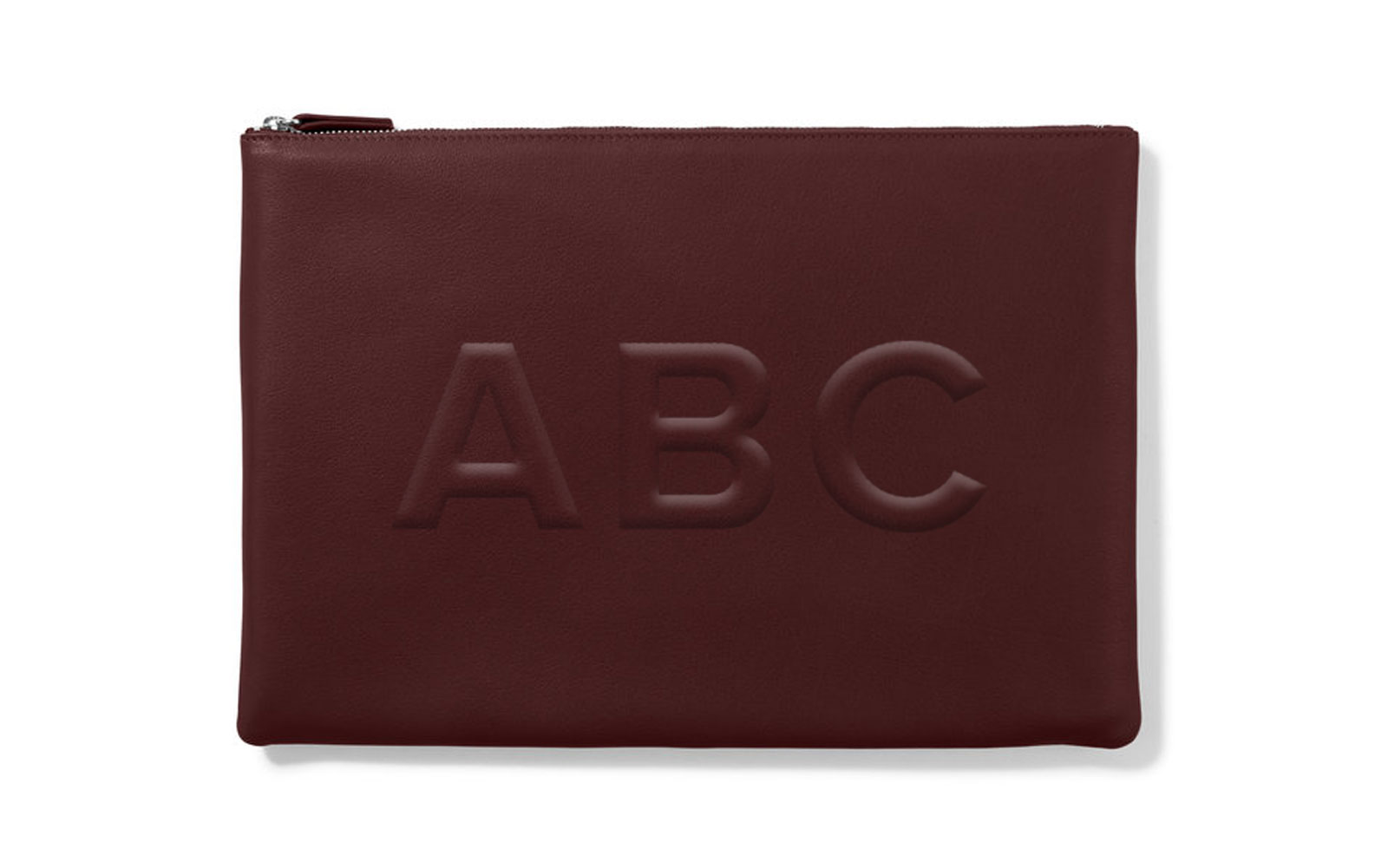 Maroon leather monogrammed pouch
