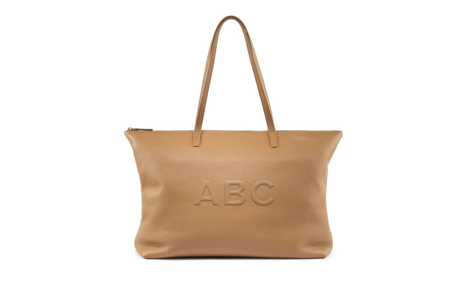 Tan leather monogrammed tote
