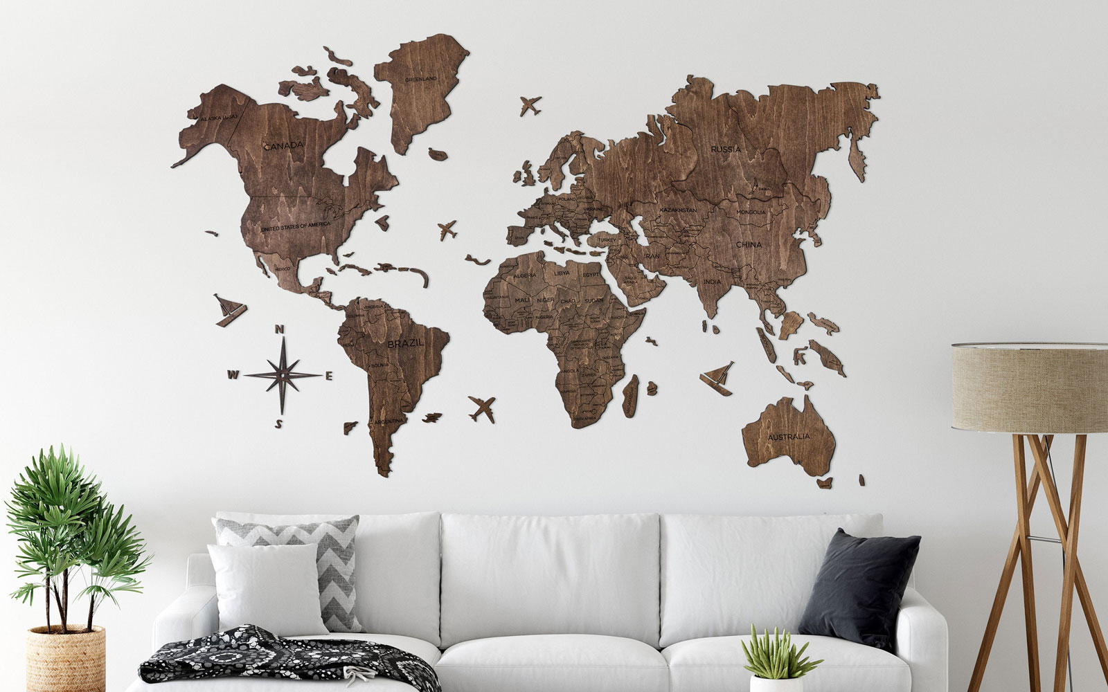 Wooden map art