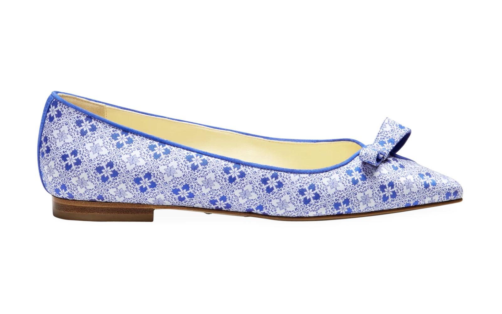 Blue and white patterned flats