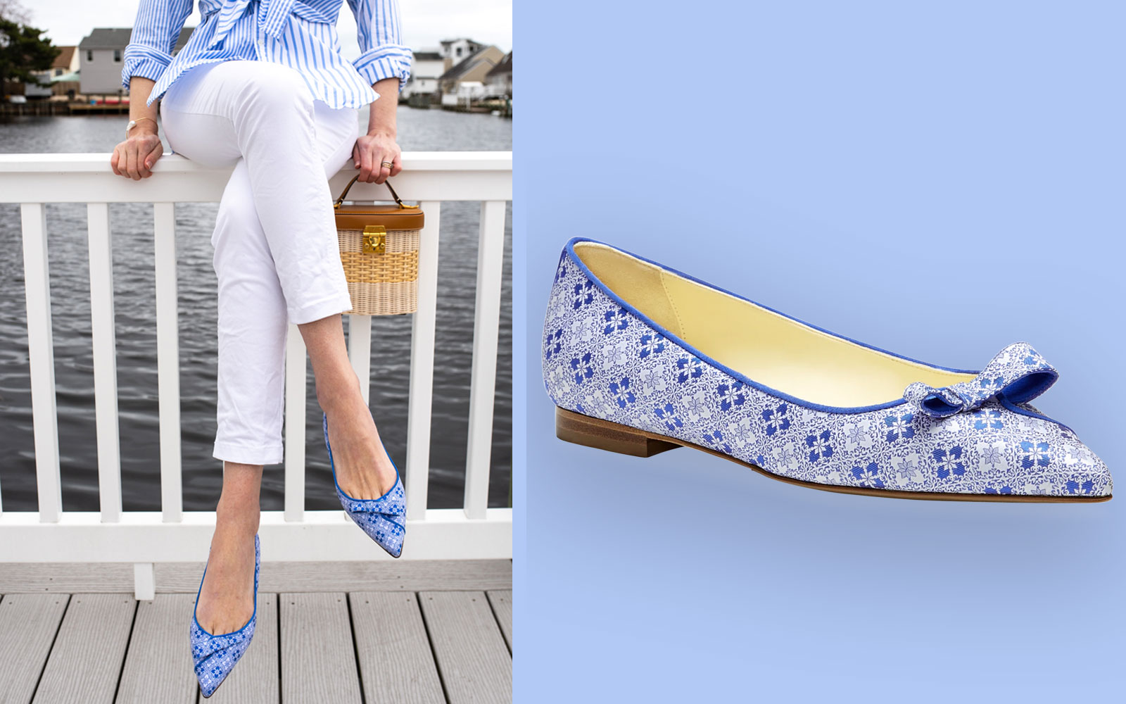 Blue and white printed flats