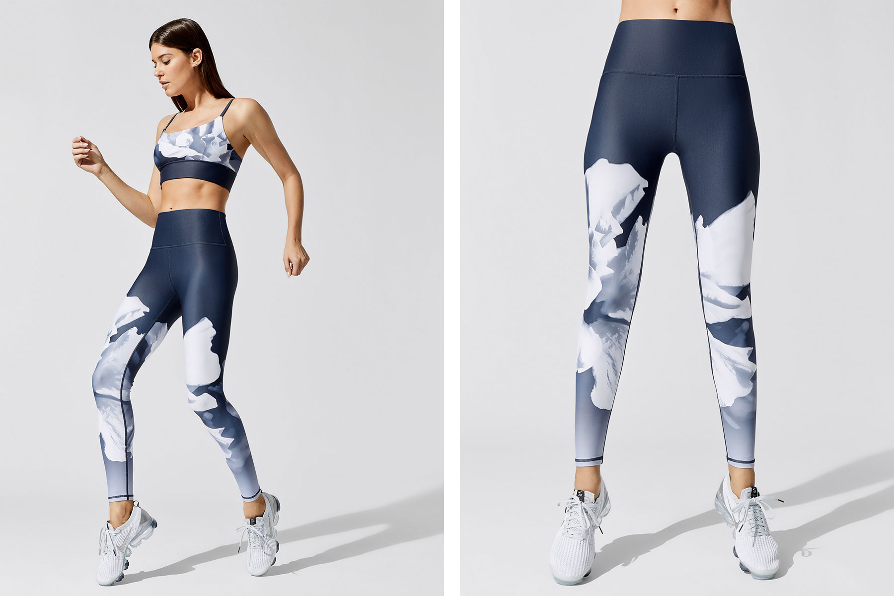 Blue patterned leggings and sports bra