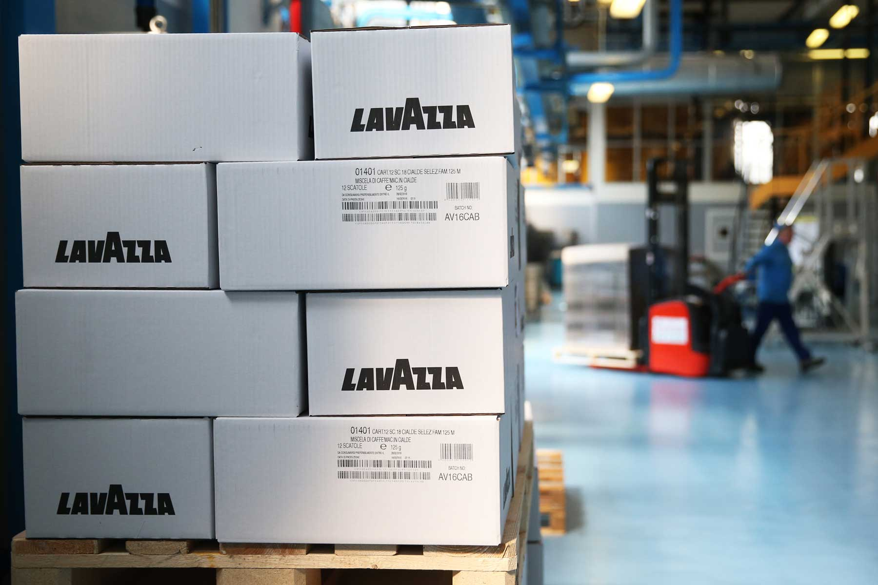 A picture shows coffee boxes in the Luigi Lavazza coffee factory on March 22, 2016 in Turin.