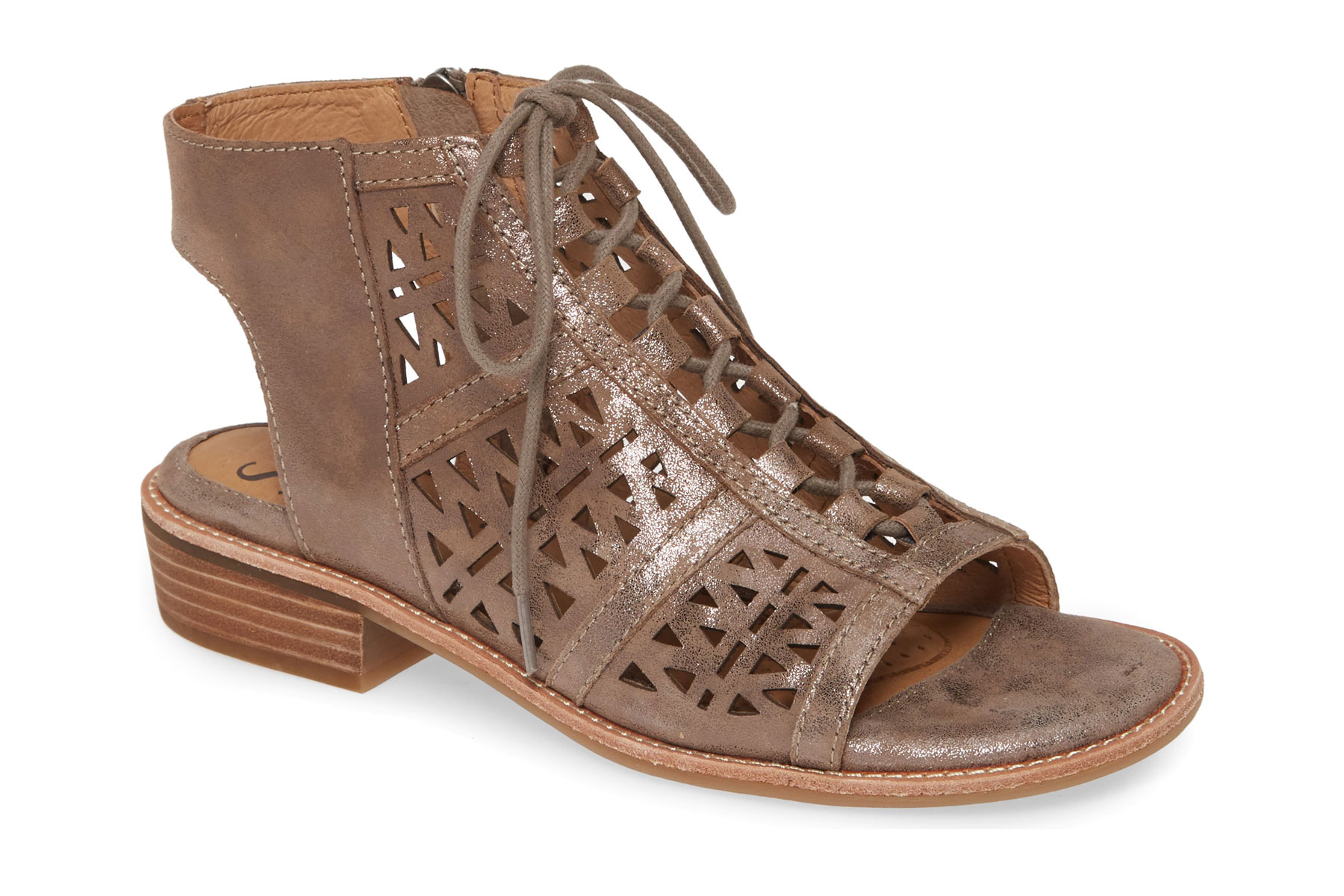 Brown leather cutout sandals