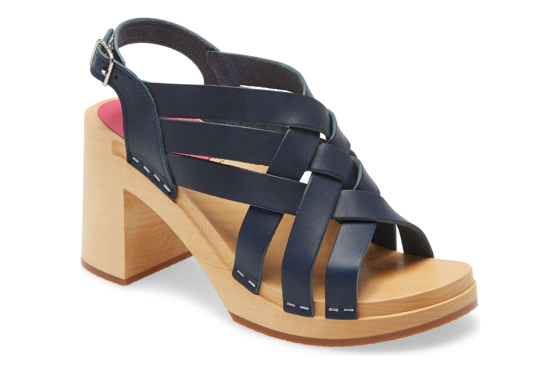 Navy leather and wooden sandals