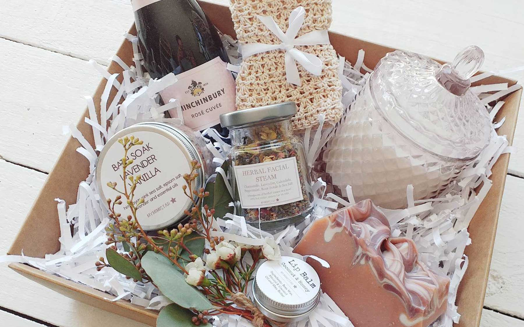 Etsy care package of wine and spa items