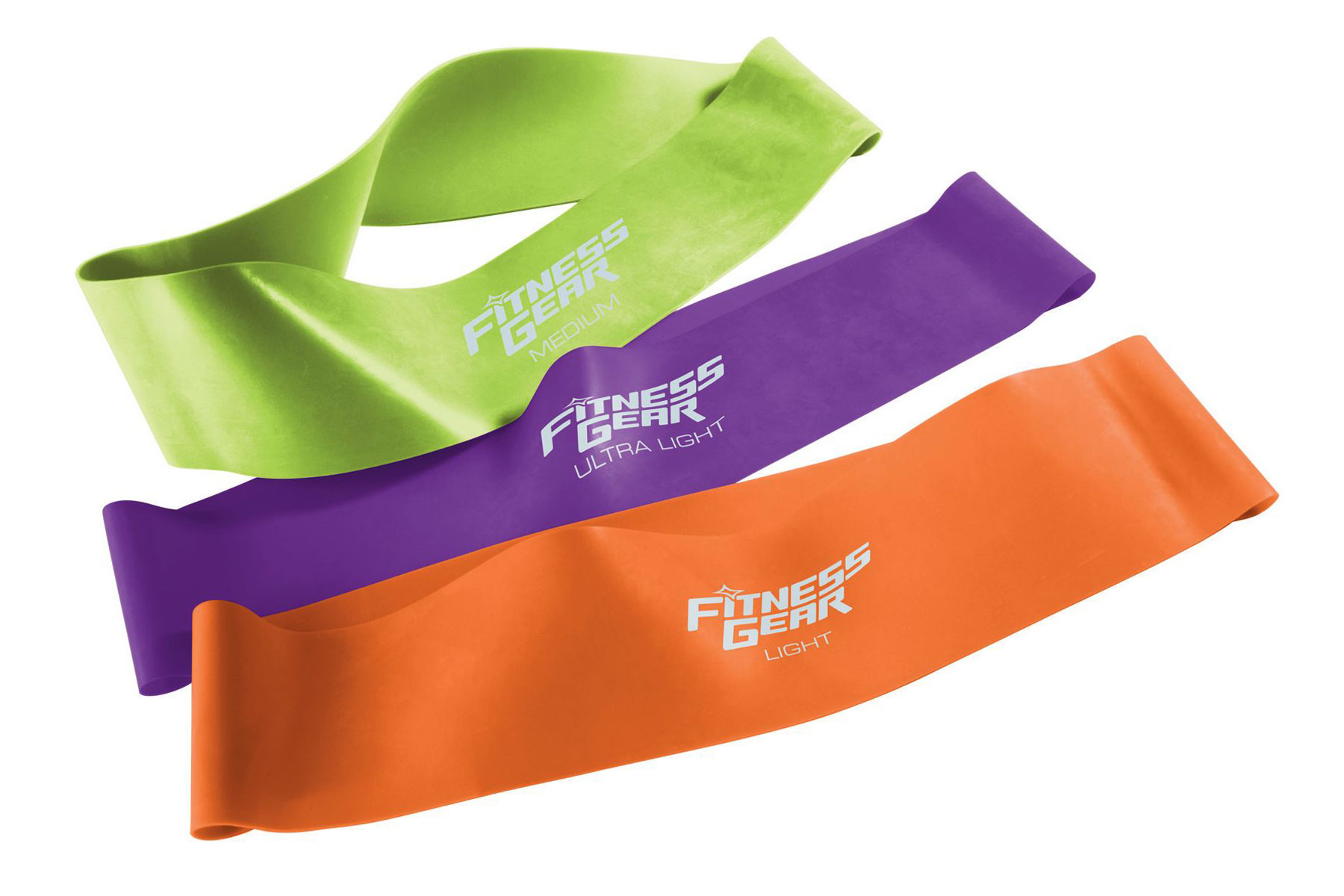 Three fitness resistance bands