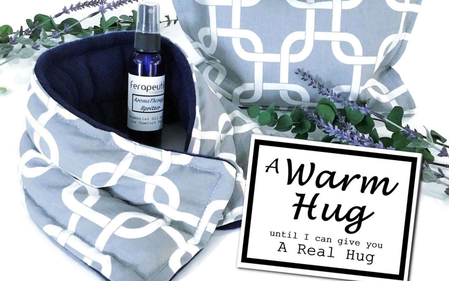 Etsy Care Package with heating pad, pillow, and pillow spray