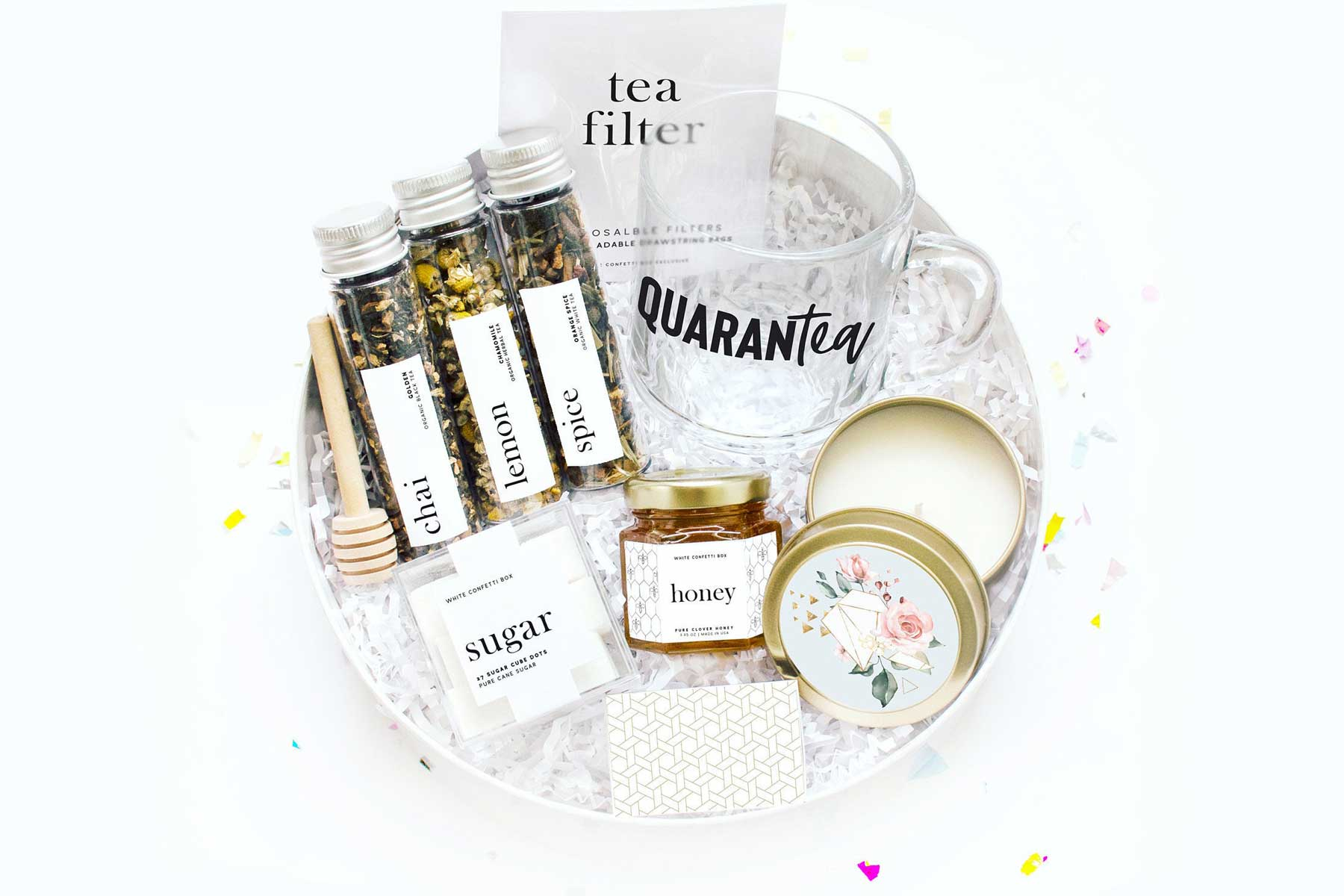Etsy Quarantea Care Package with mug, honey, and tea