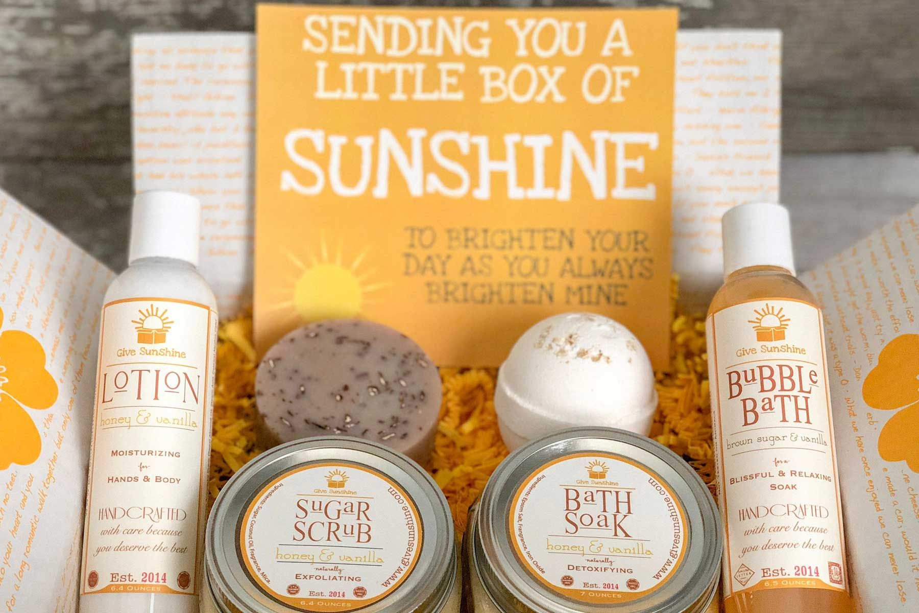 Etsy Care Package of bath products and yellow confetti
