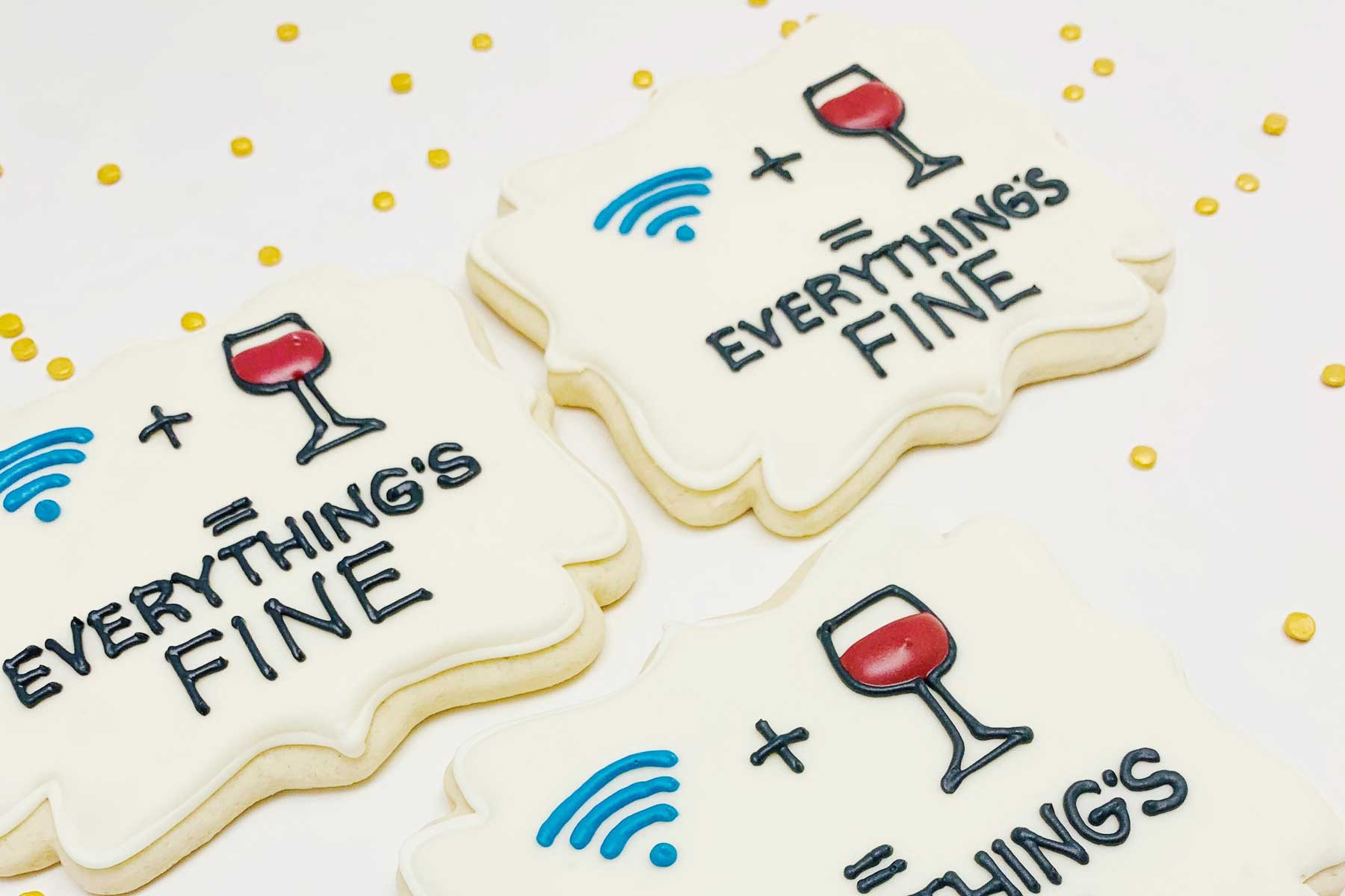 "Etsy Care Package of ""Wifi + Wine = Everything's Fine"" cookies"
