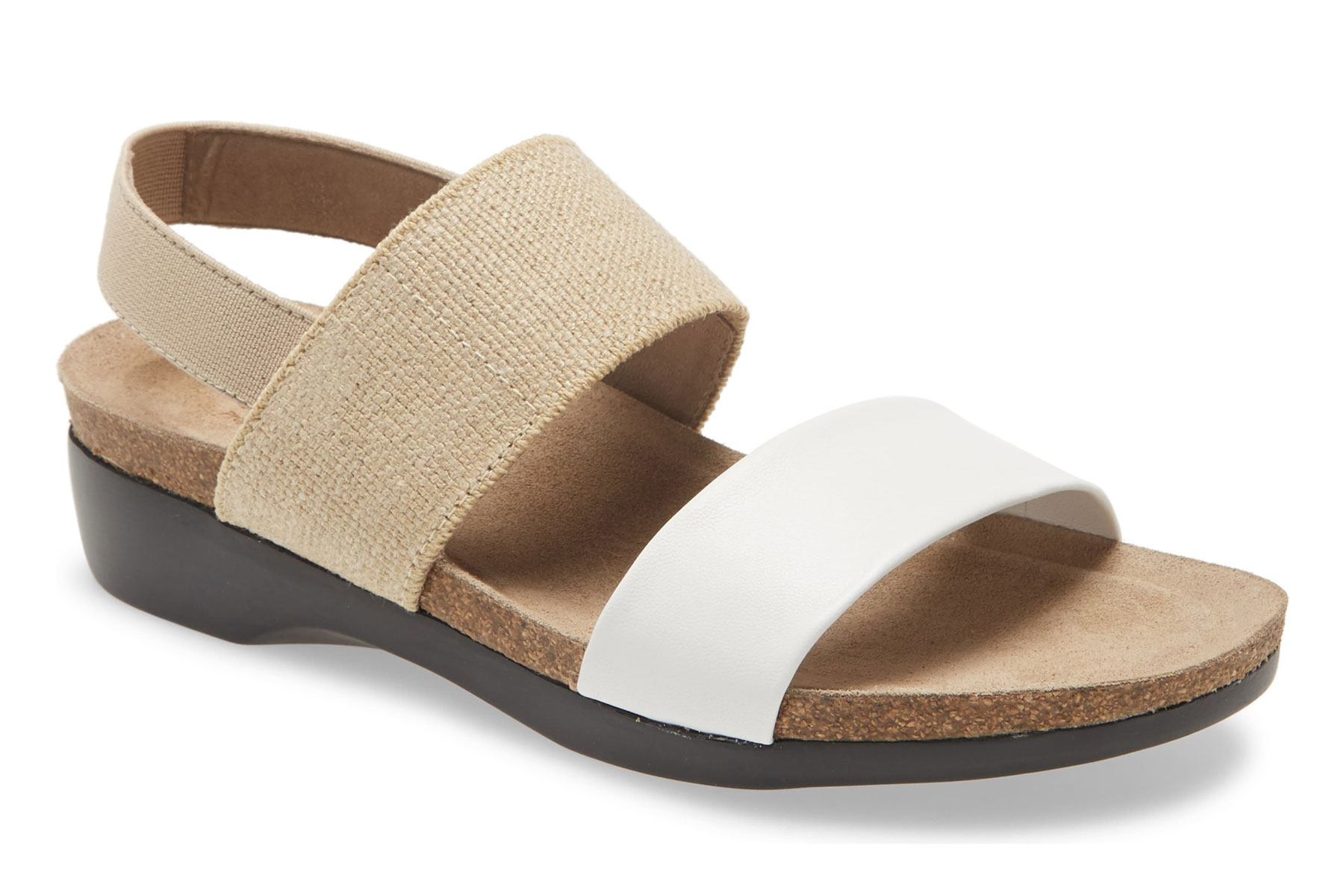 Tand and white leather sandals