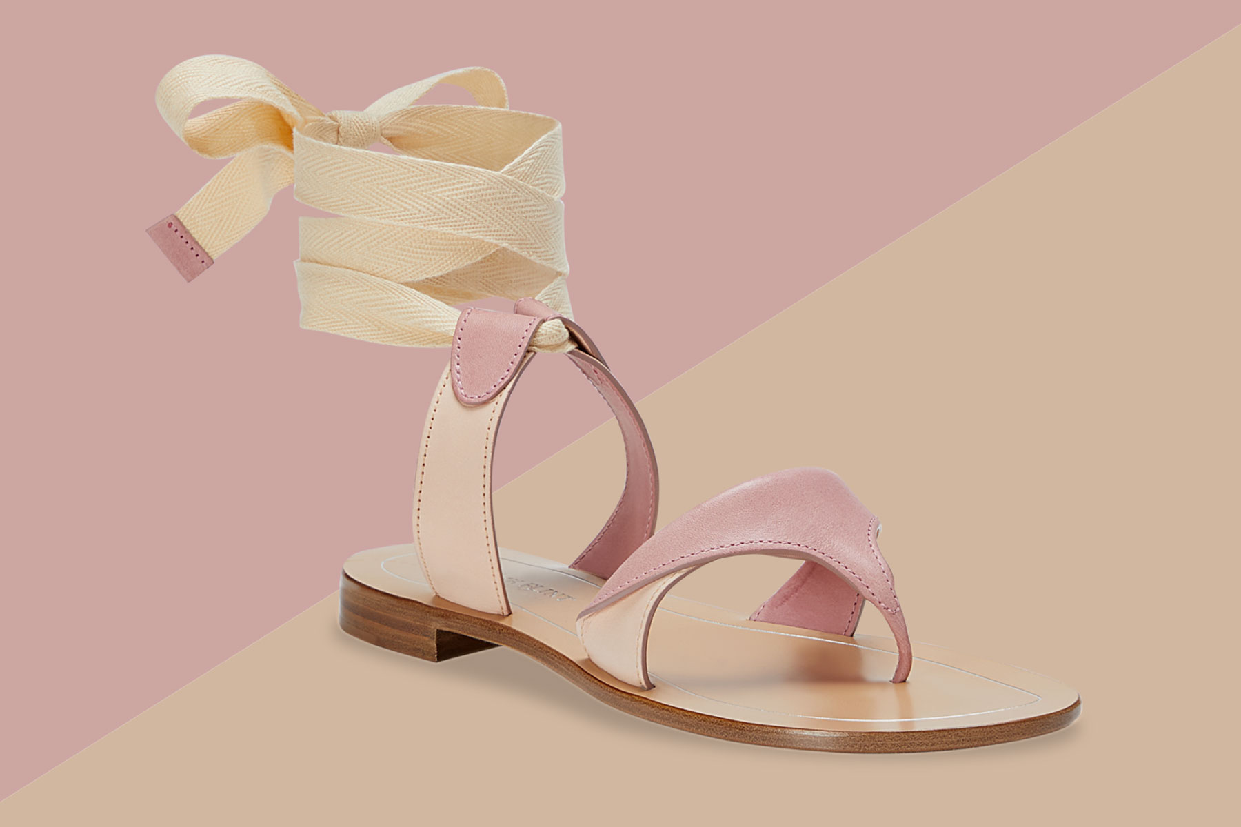 Pink and tan leather sandals