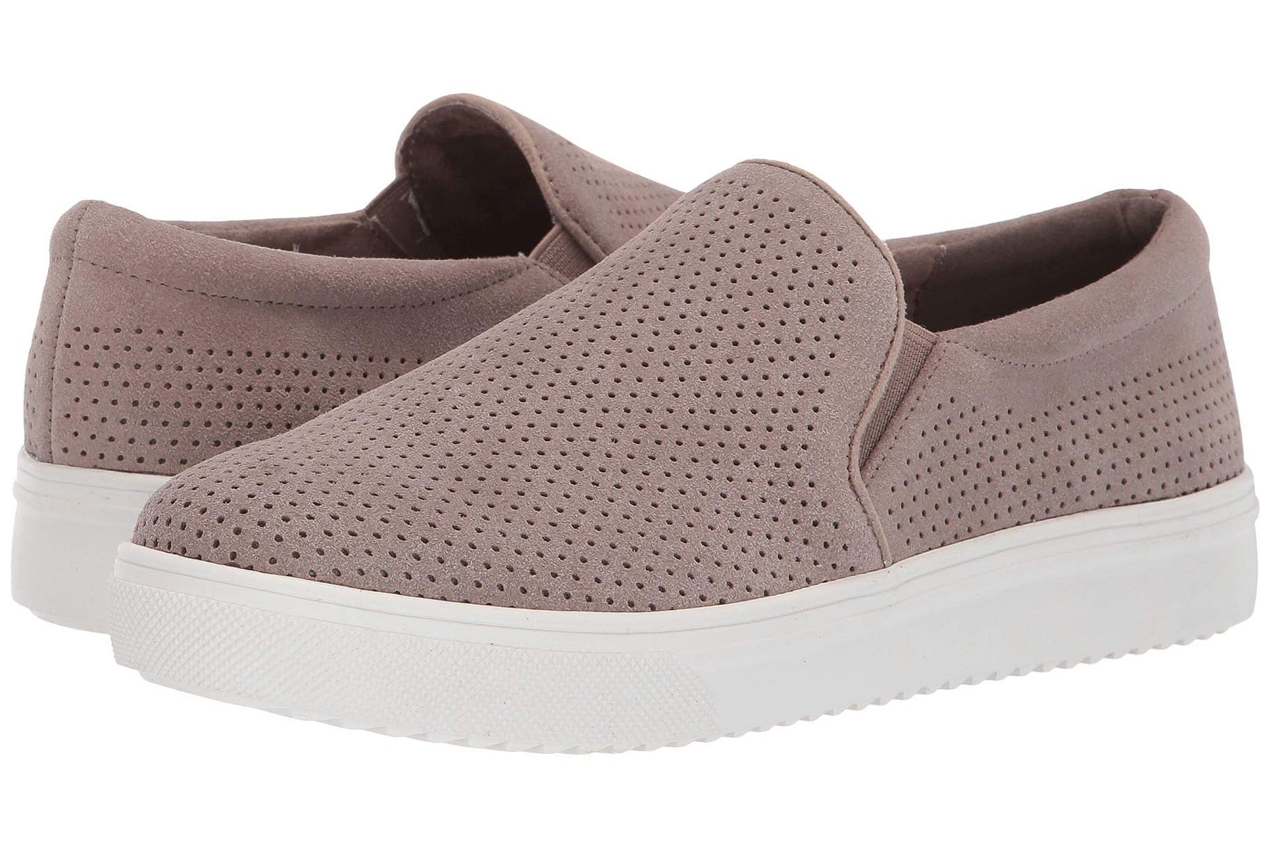 Pink/taupe suede slip on sneakers