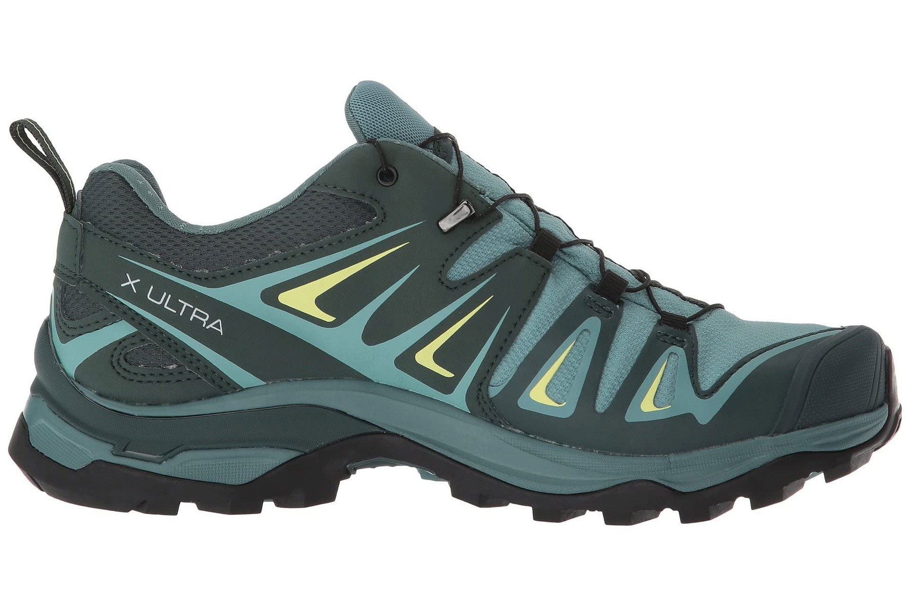 Green and blue hiking shoes