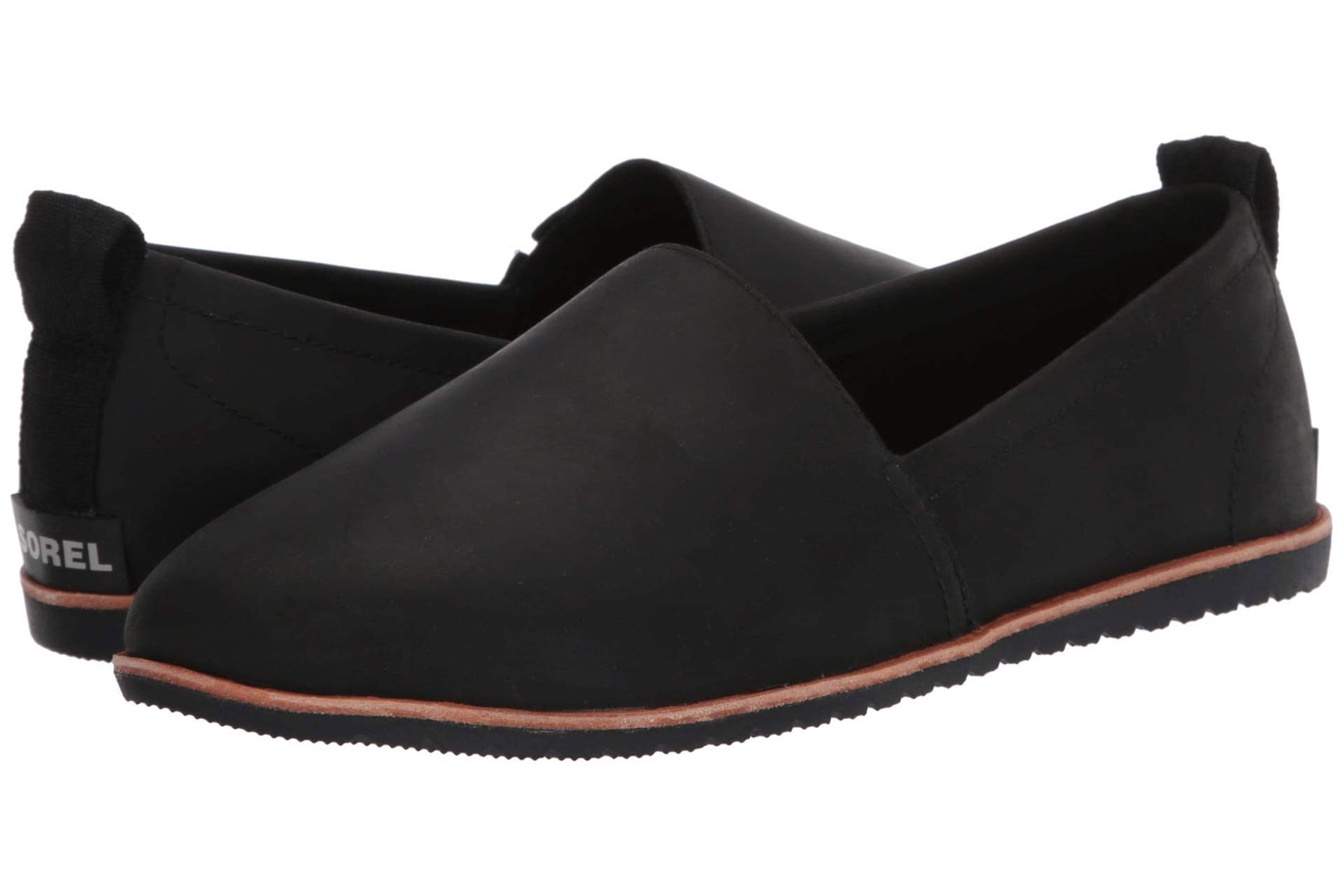 Women's black leather slip on shoes