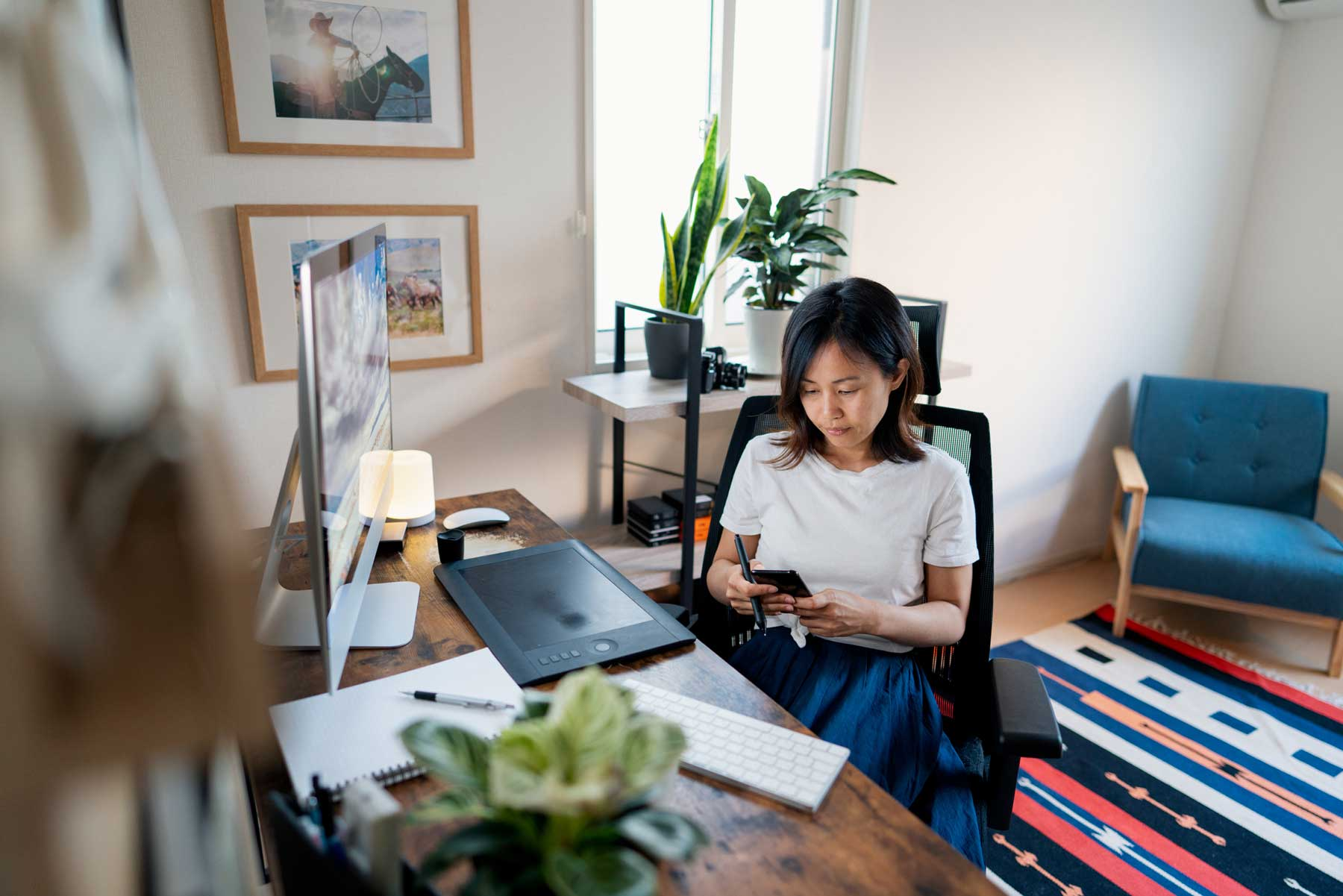 Female designer working from her home office
