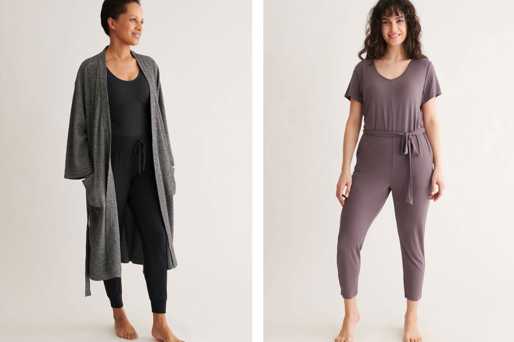 Grey waffle robe and purple lounge jumpsuit