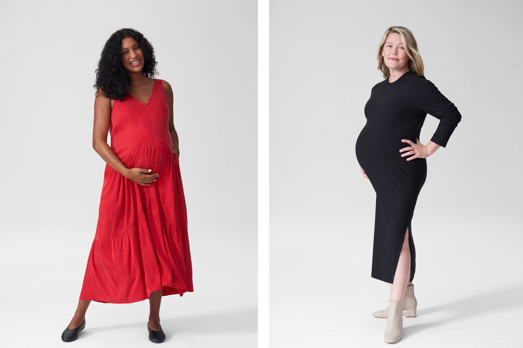 Red and black maternity dresses