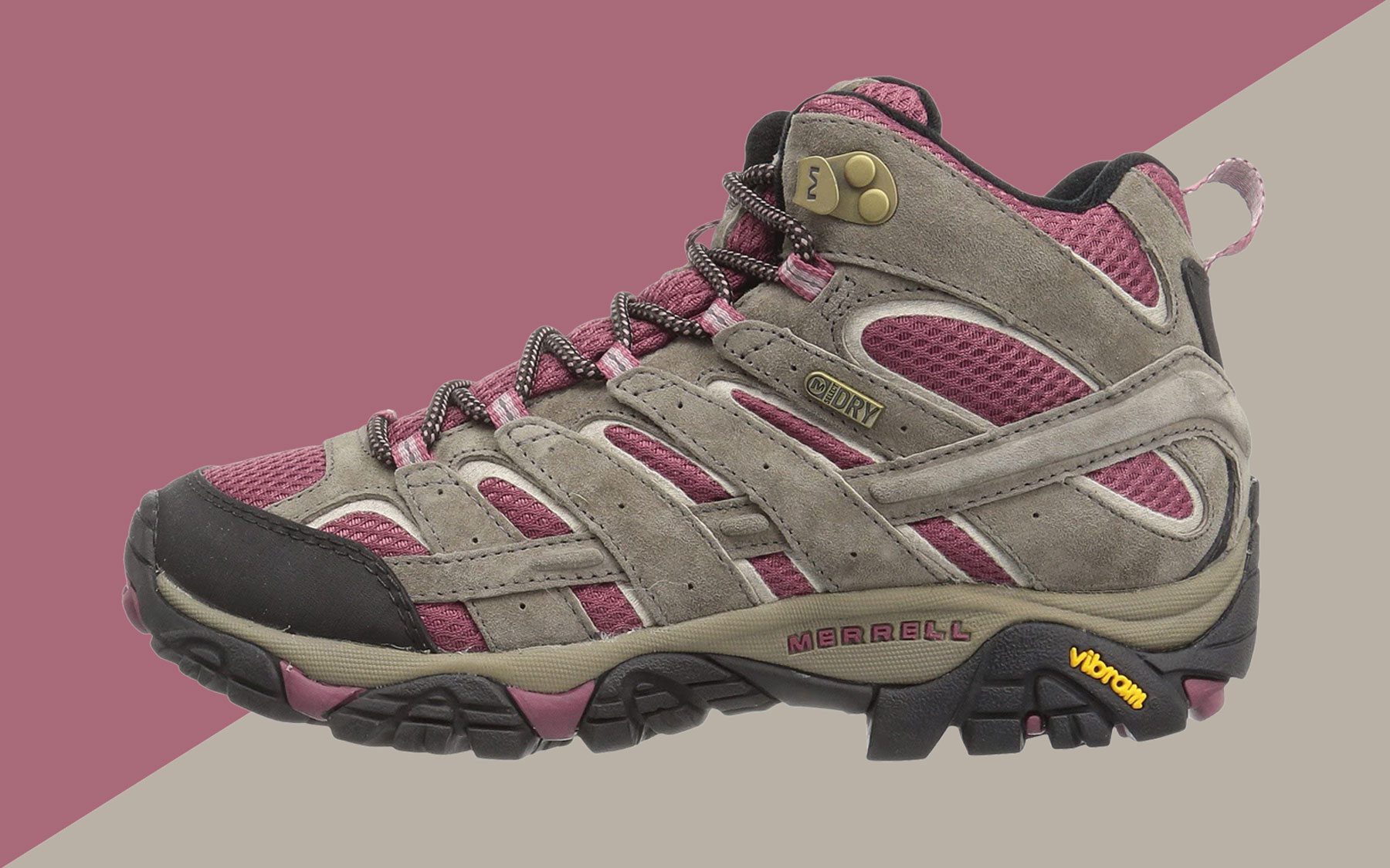 Grey and pink hiking boot
