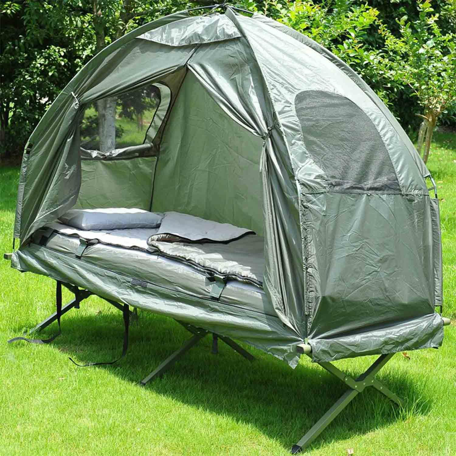 Army Green Deluxe 4-in-1 Compact Folding Dome Shelter Tent with Sleeping Bag Air Mattress Pillow