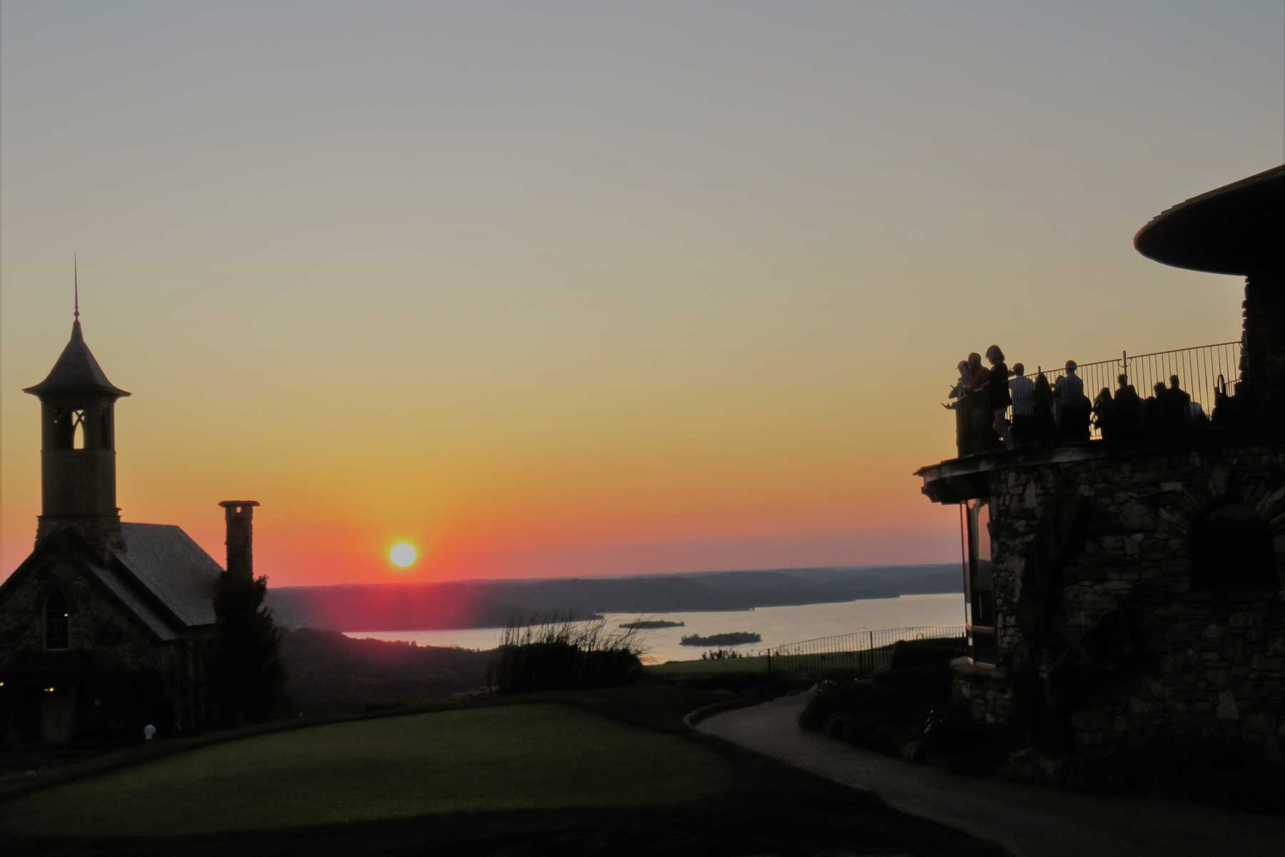 Top of the Rock, Chapel of Ozarks, Table Rock Lake, sunset at Ridgedale, Missouri